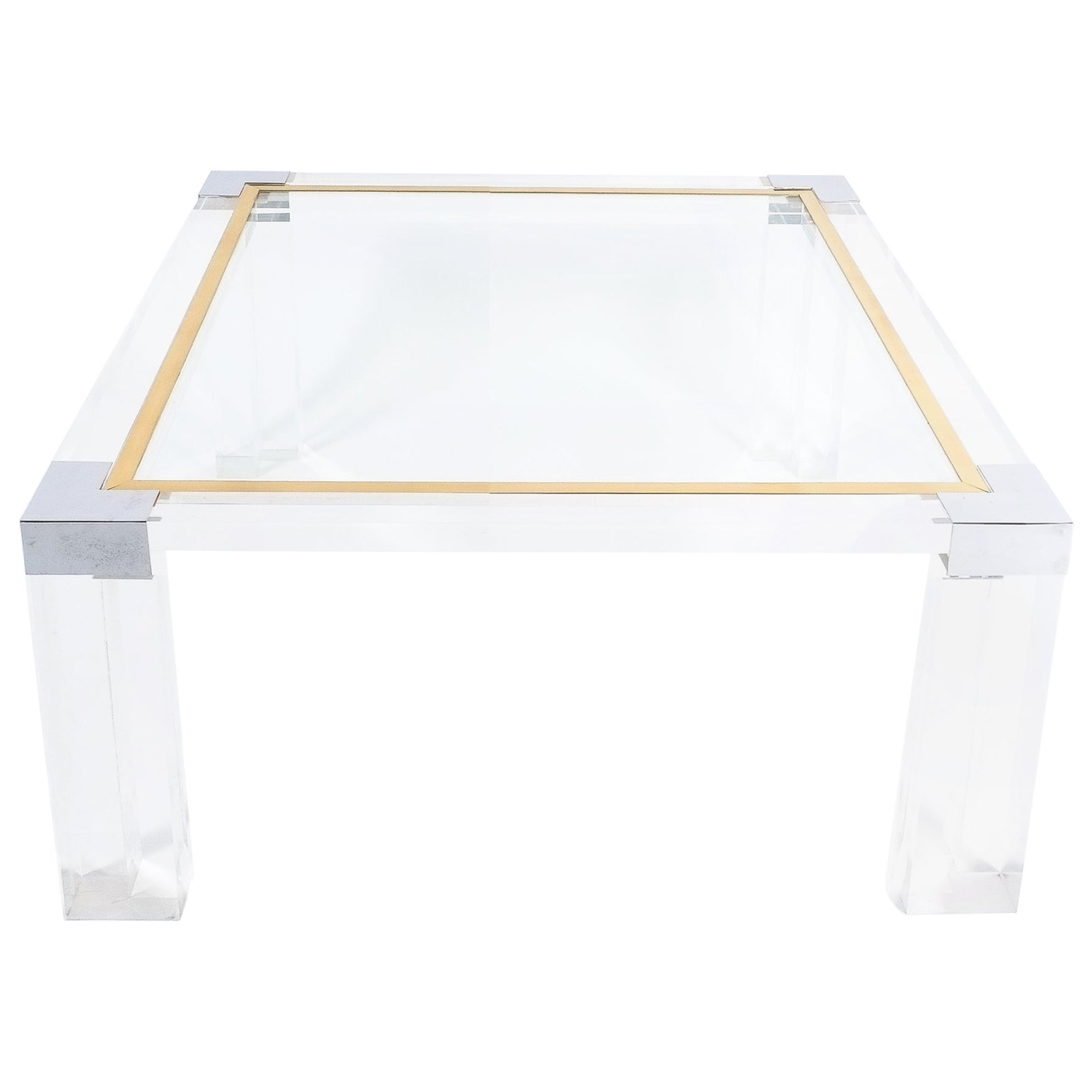 Lucite and Brass Coffee Table Style Charles Hollis Jones