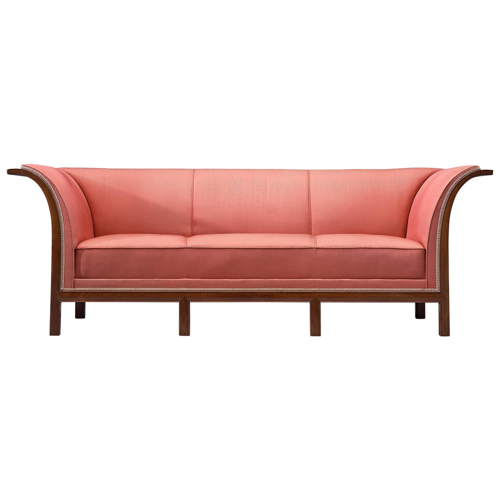 Frits Henningsen Sofa in Mahogany and Pink Fabric