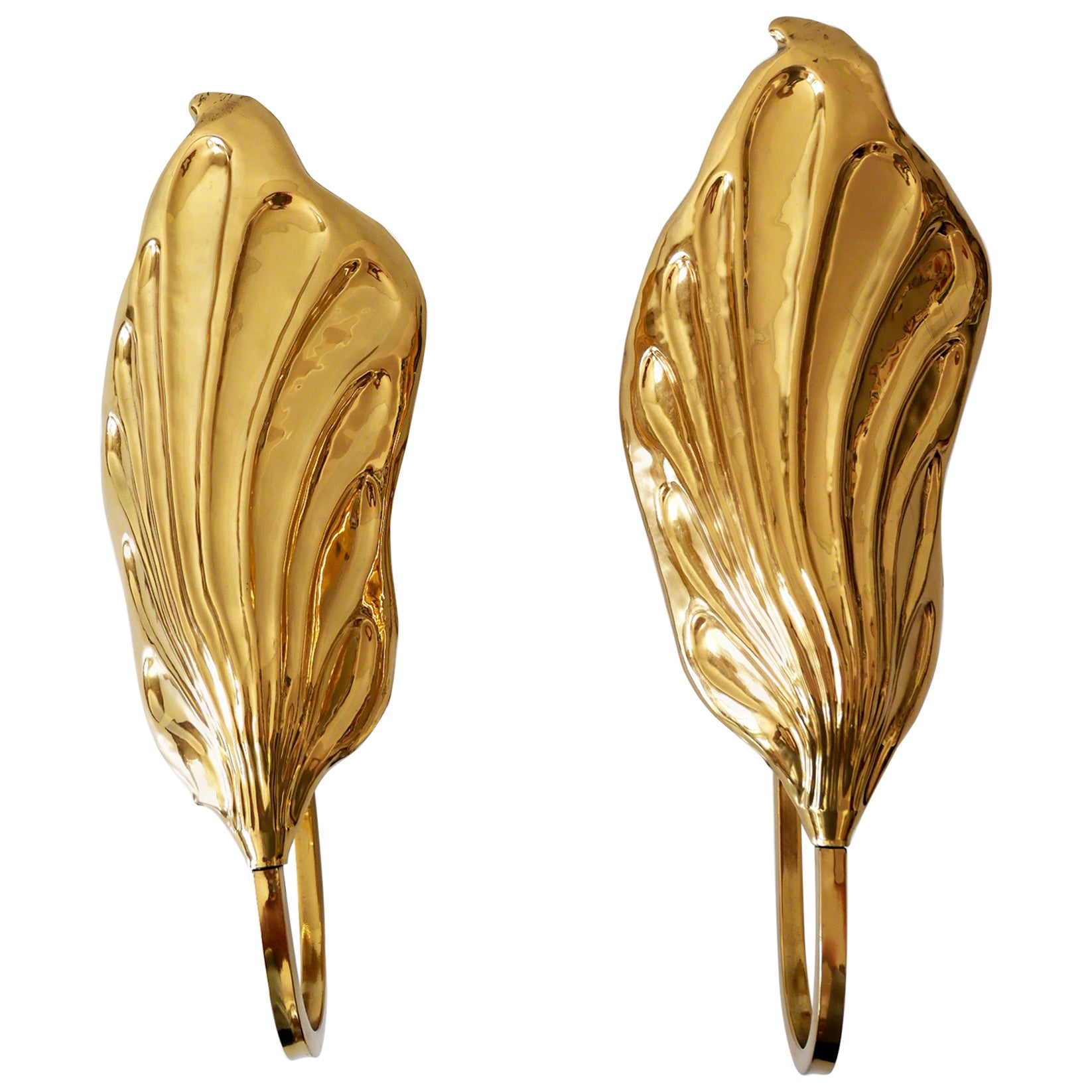 Set of Two Brass Leaf Wall Lamps or Sconces by Carlo Giorgi for Bottega Gadda