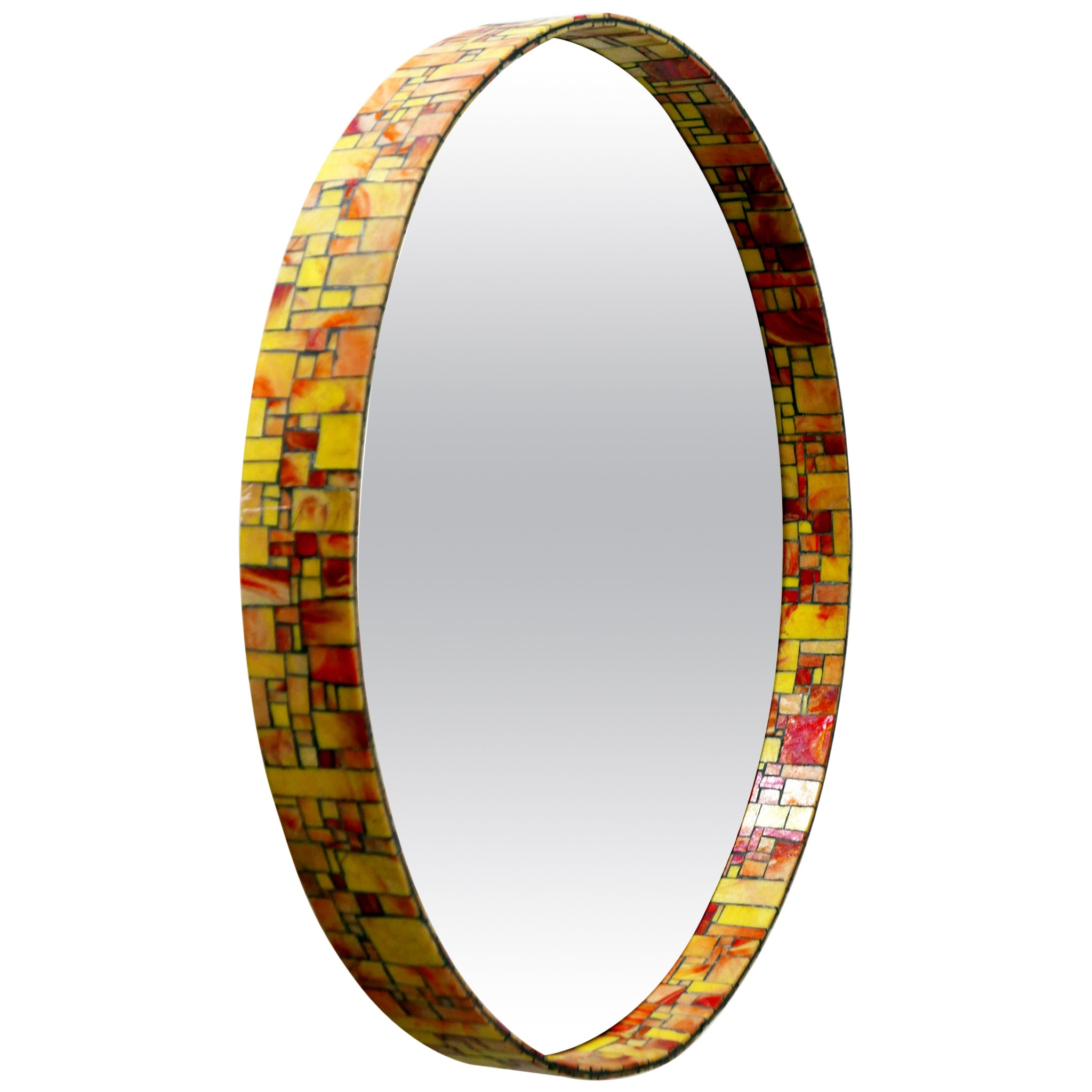 Exceptional Mid-Century Modern Mosaic Framed Circular Wall Mirror, Italy, 1960s