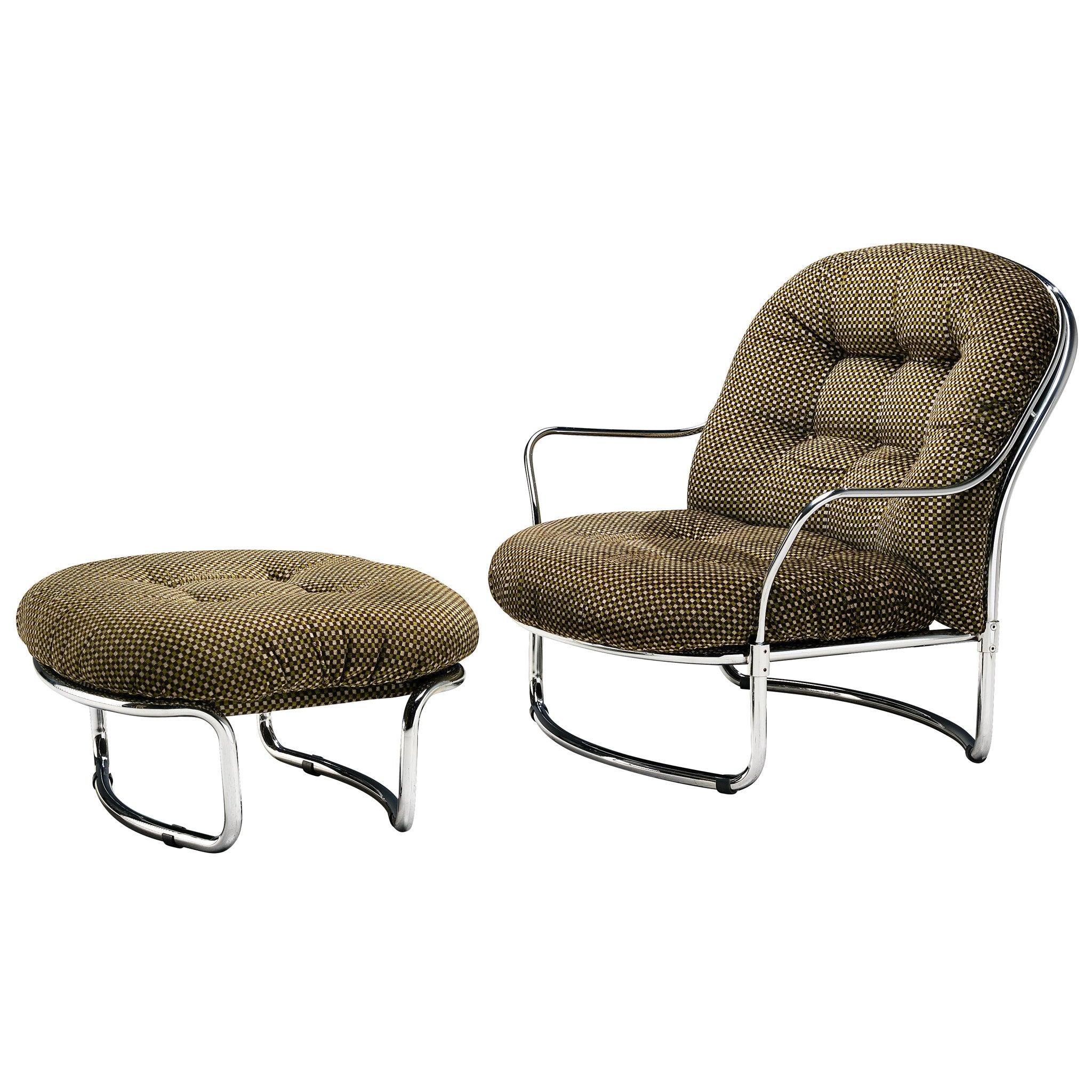 Carlo de Carli Tubular Lounge Chair with Ottoman