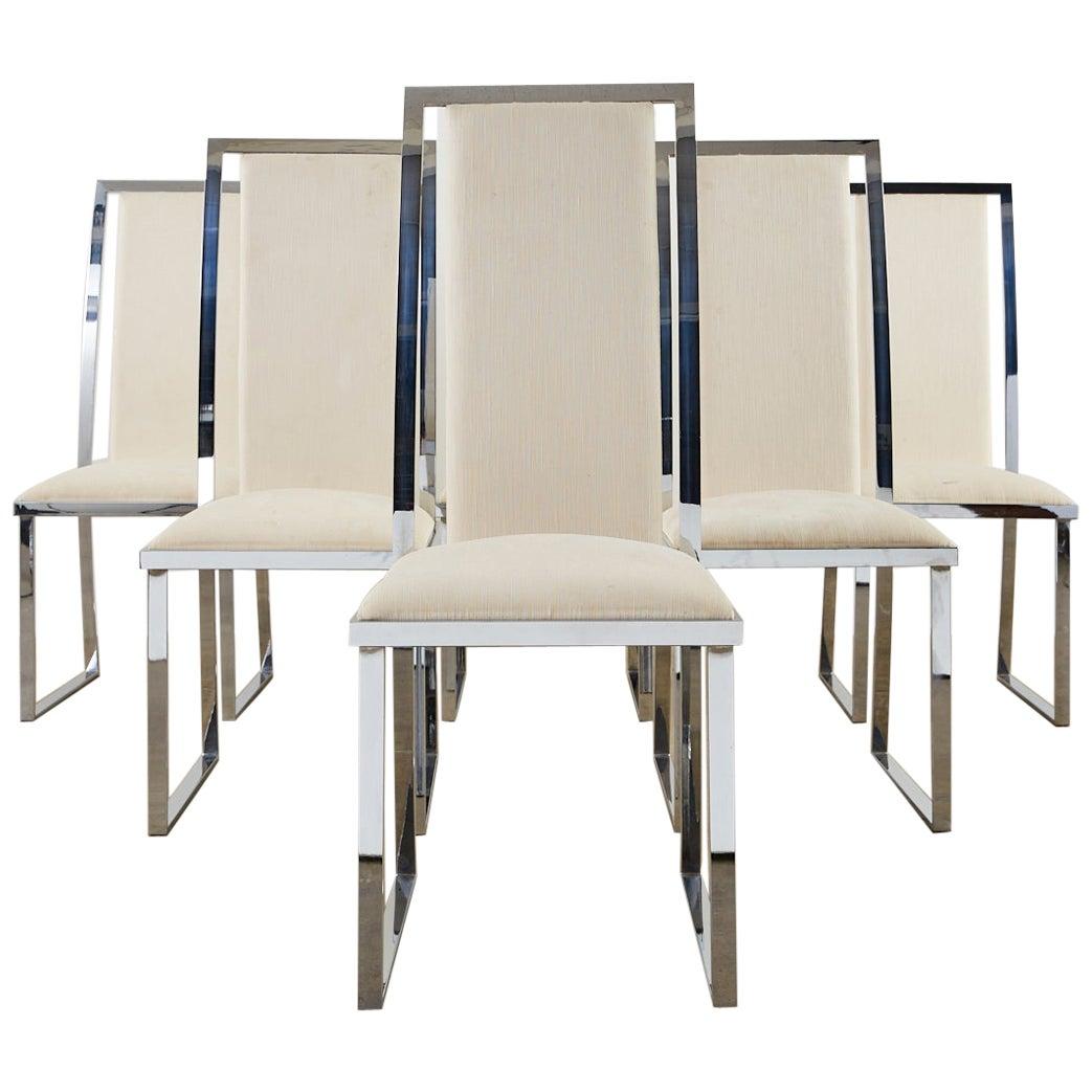 Set of Six Pierre Cardin Flat Bar Chrome Dining Chairs