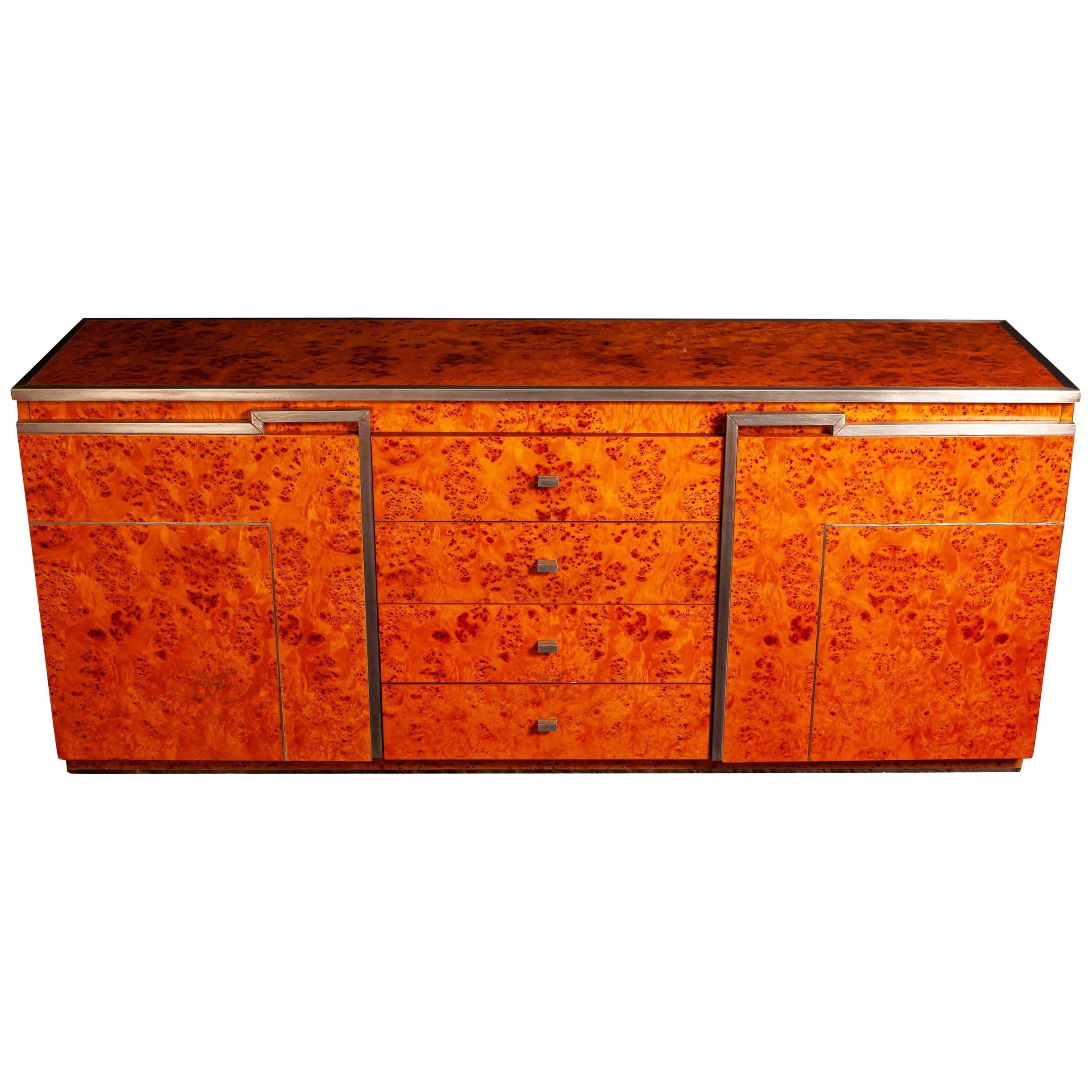 Chrome and Burl Wood Credenza in the Style of Willy Rizzo, Italy, 1970