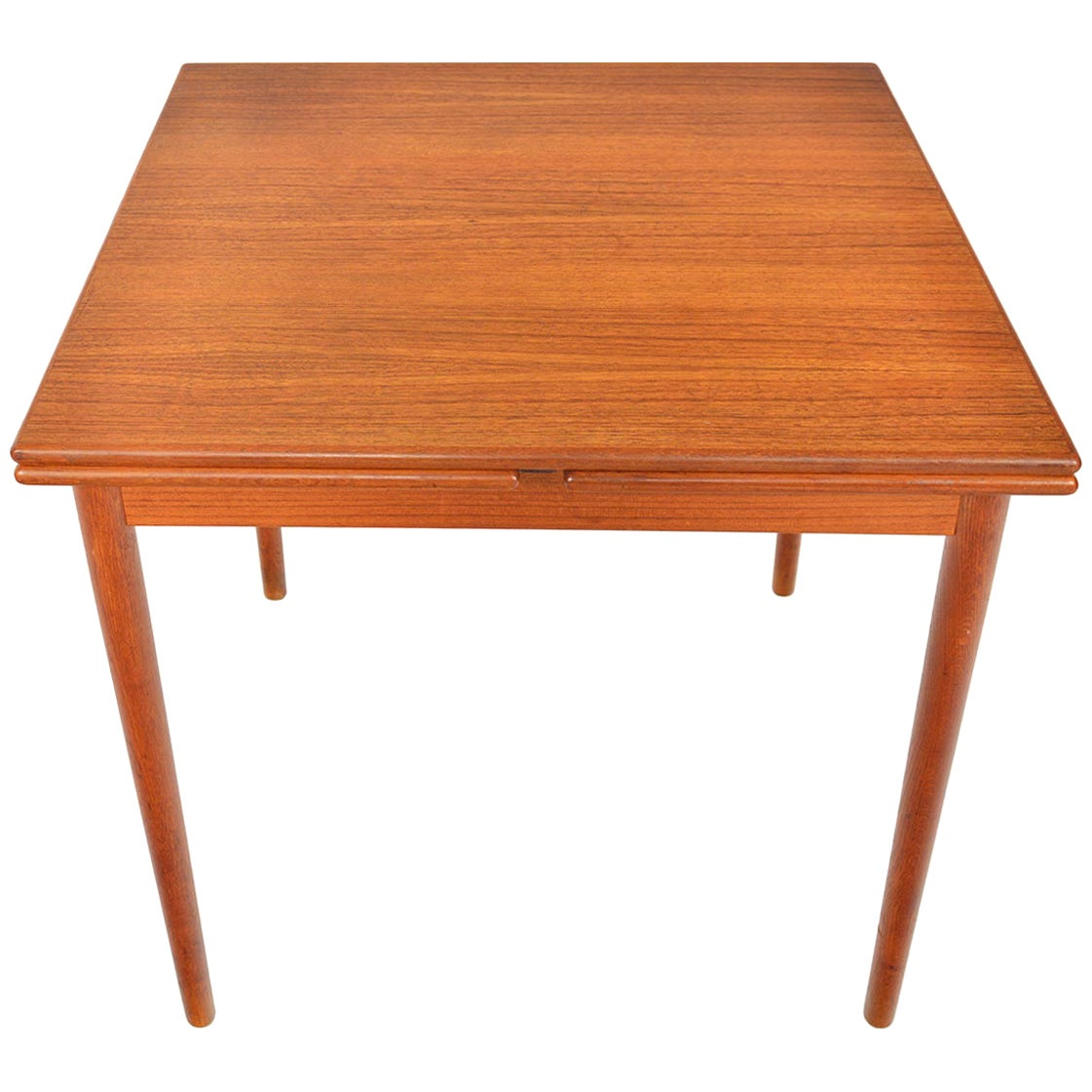 Danish Modern Square Teak Draw Leaf Dining Table
