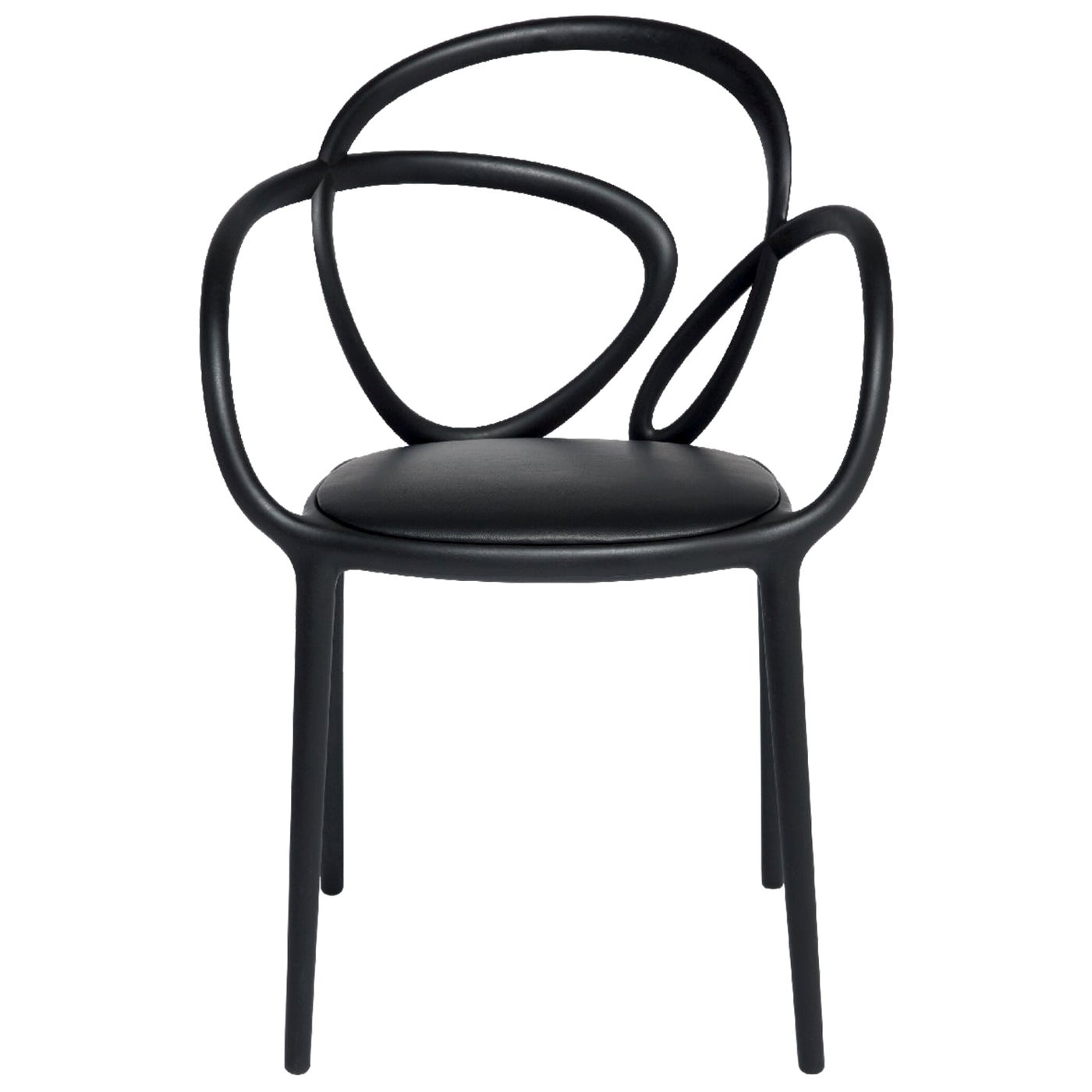 Black Loop Padded Armchair, Made in Italy