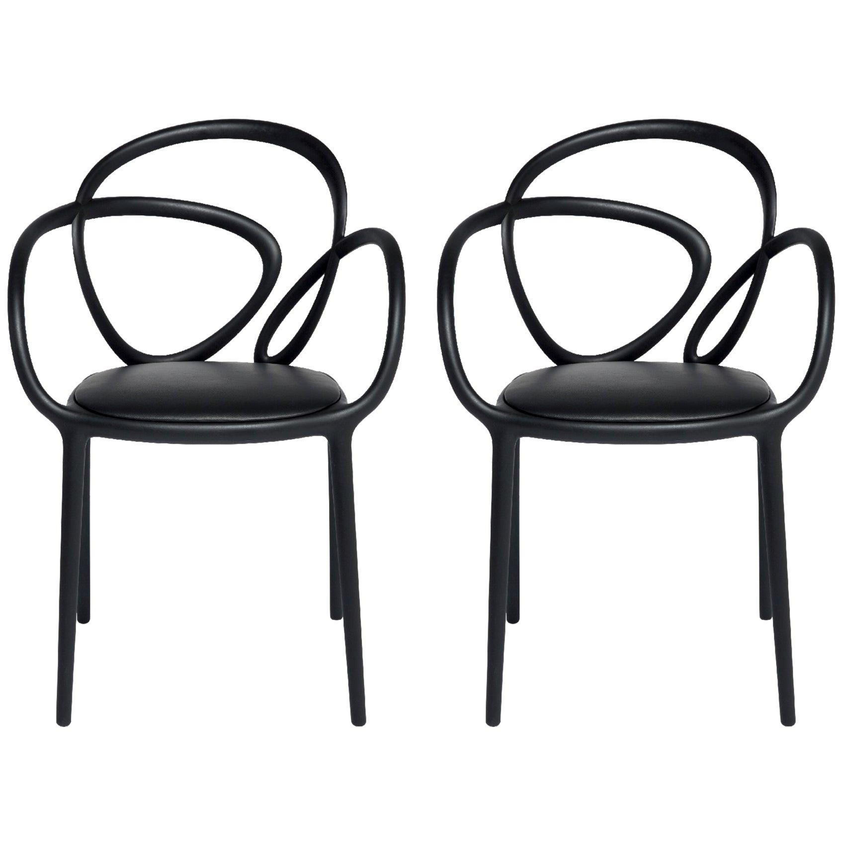 Set of 2 Black Loop Padded Armchair, Made in Italy