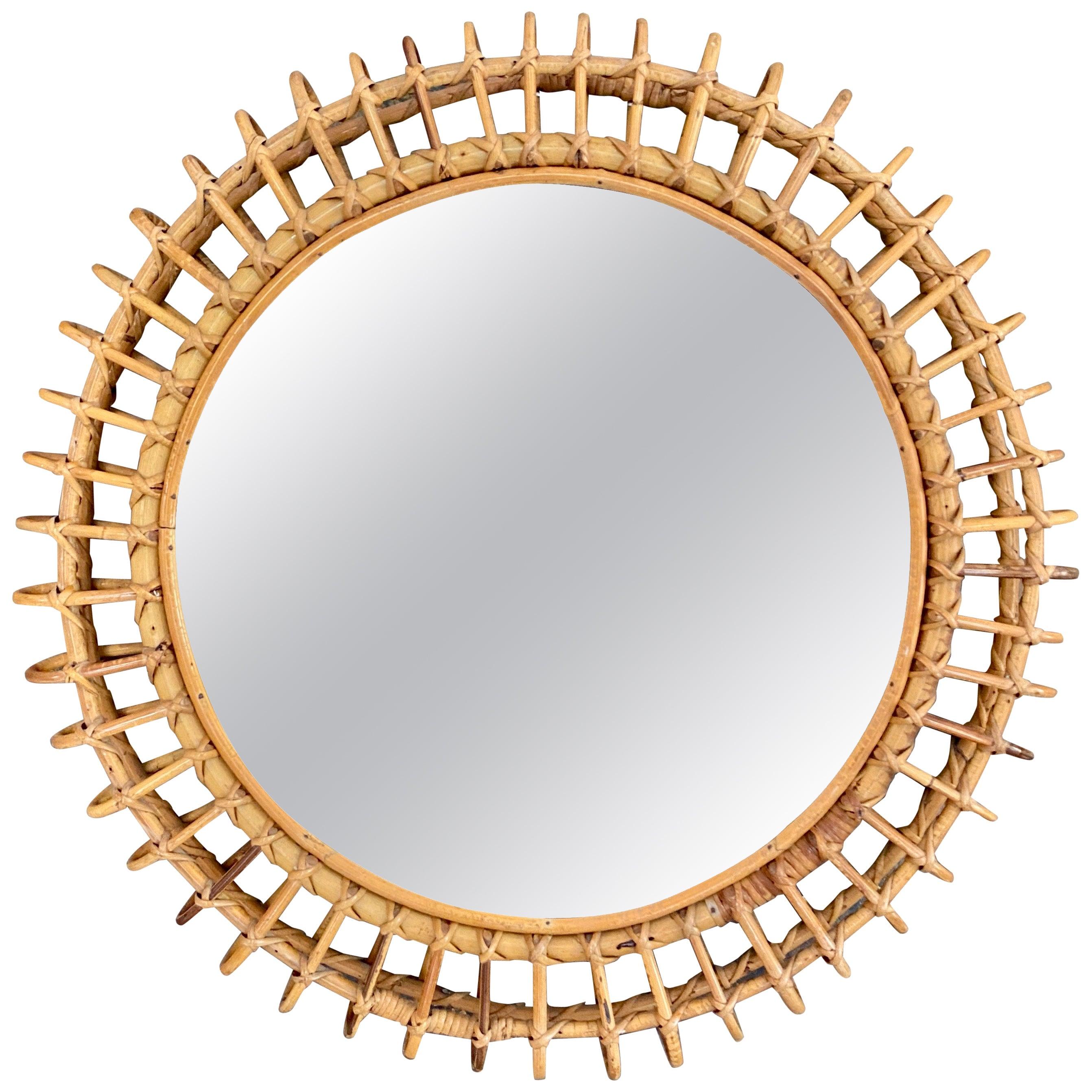 Round Rattan Italian Wall Mirror, 1960s