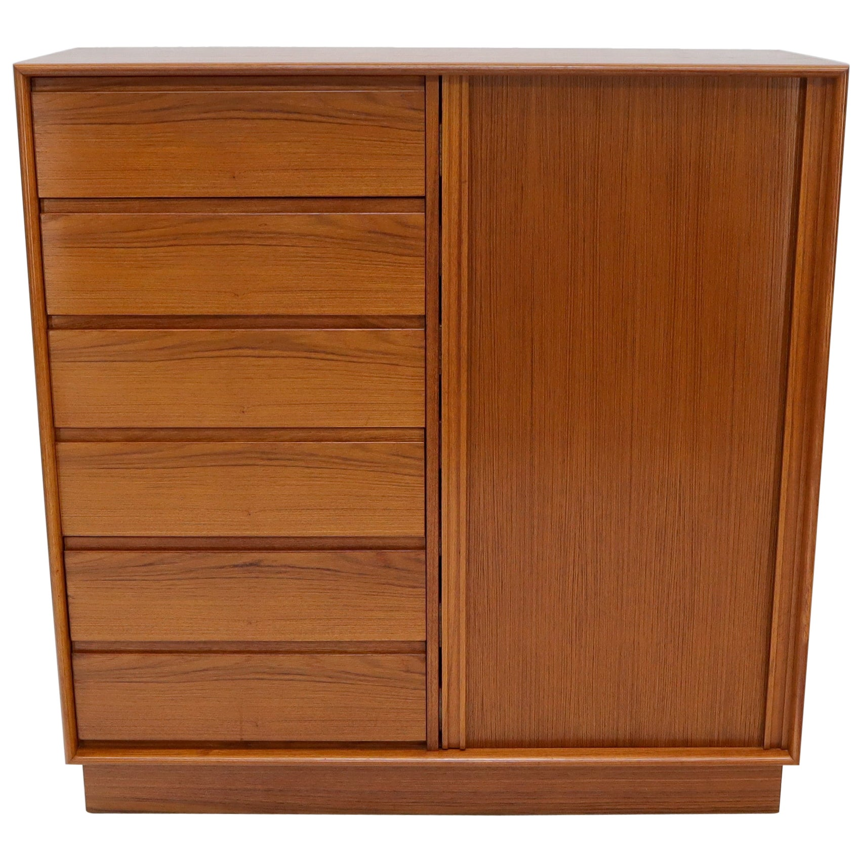 Tambour Door Side by Side 13 Drawers Large Teak Gentleman Chest Dresser Cabinet
