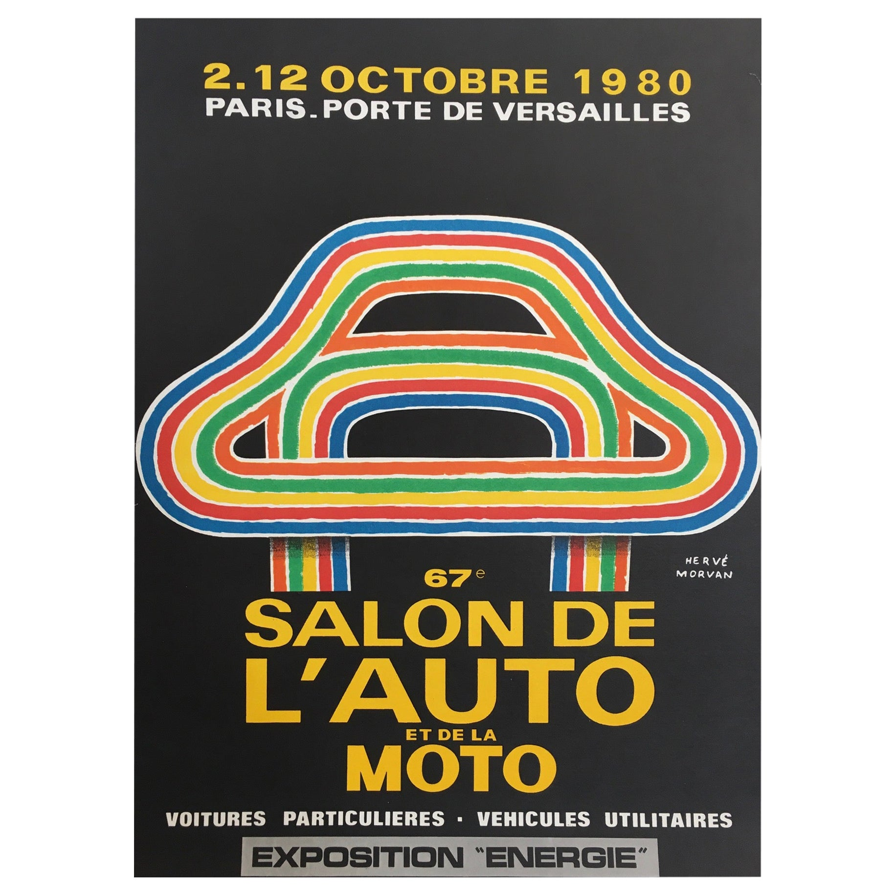 Herve Morvan, Original Vintage Poster, 'Auto and Motorcycle Show', 1980