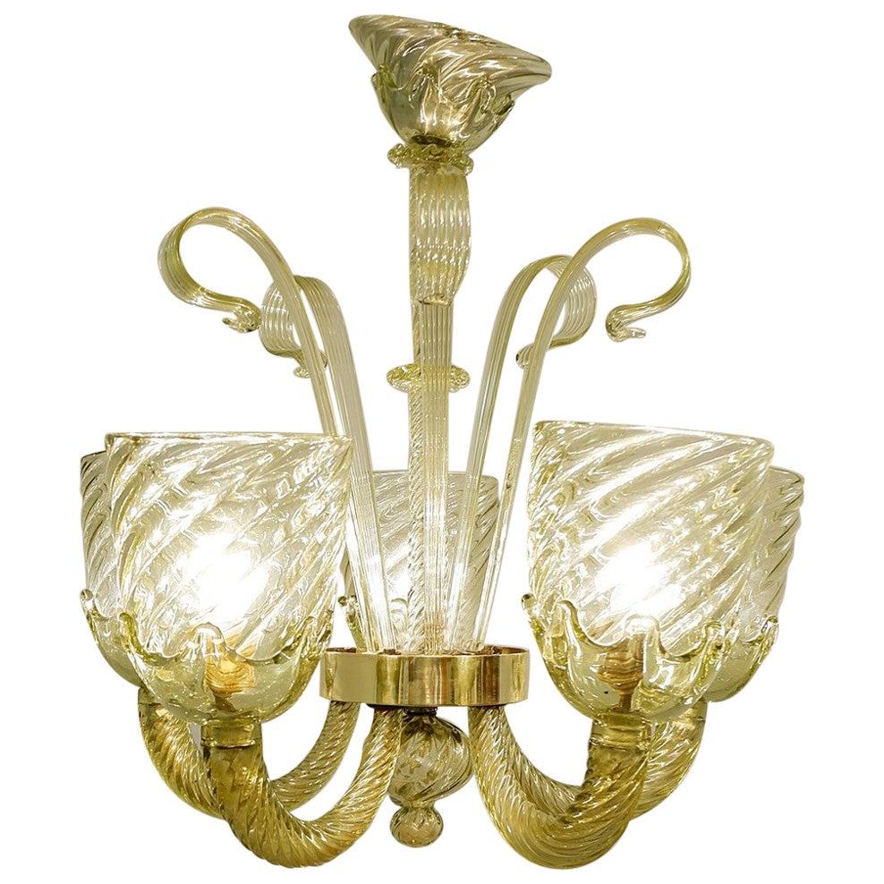 Murano Glass 6-Light Chandelier, 1930s