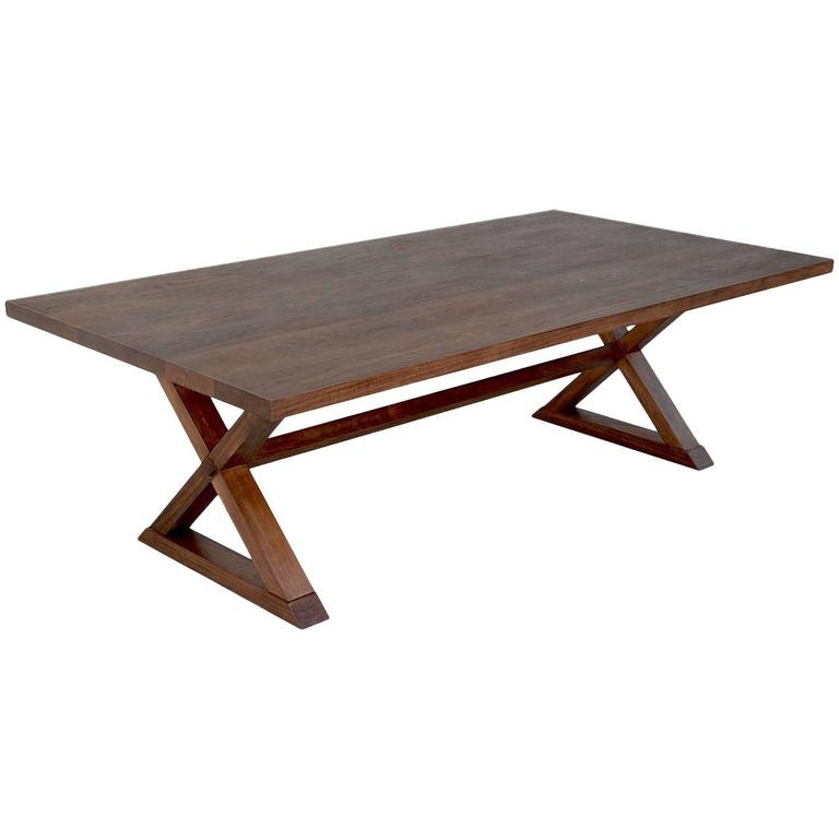 High Quality Minimalist X Trestle Table In Black Walnut, Built To Order By Petersen  Antiques For