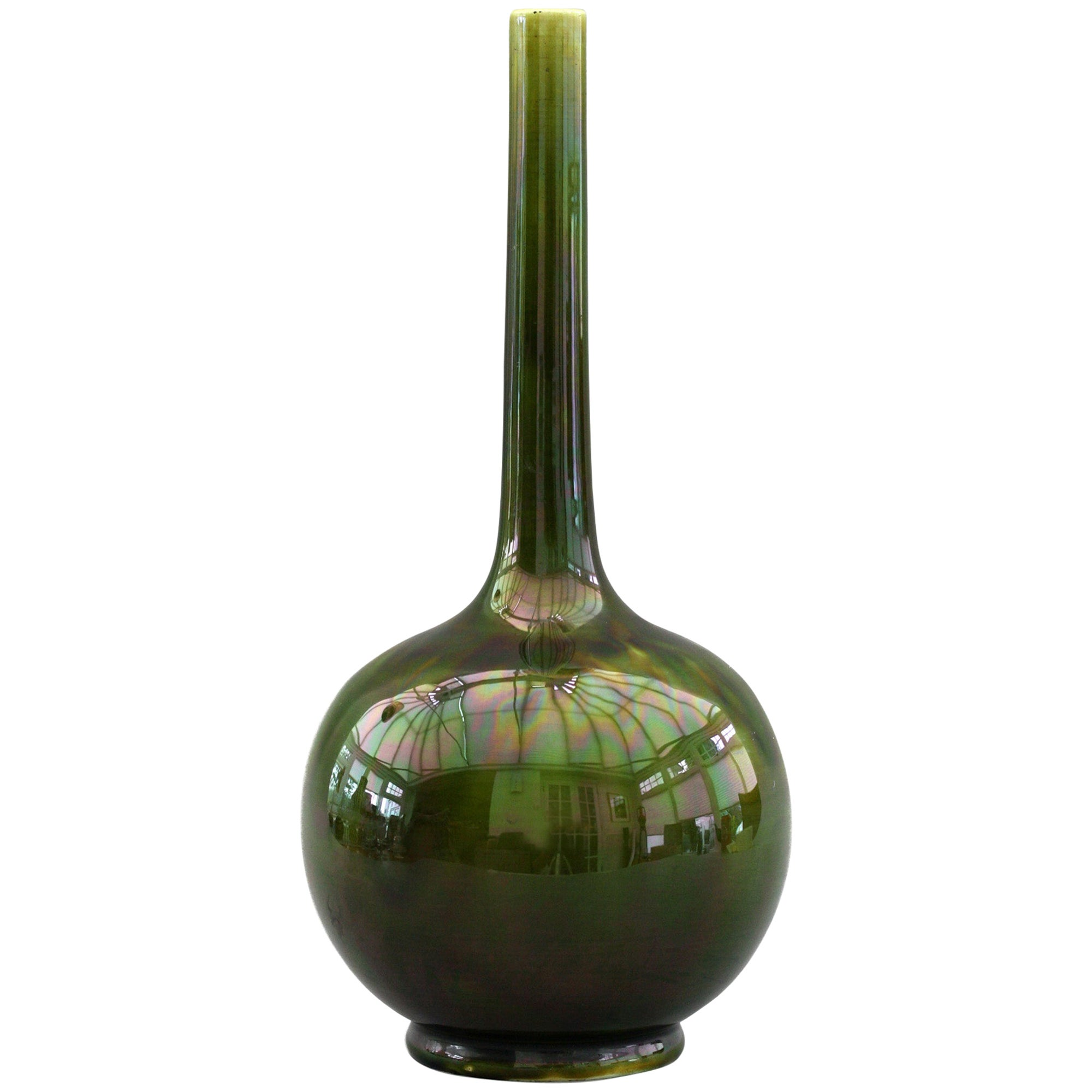 Sarreguemines Majolica Green Lustre Glazed Bottle Vase, 19th Century
