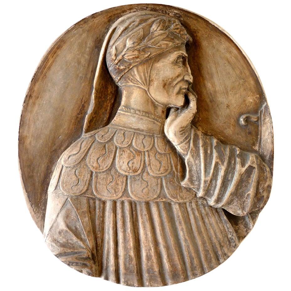 Early 1900 Dante Alighieri Signa Florence Italian Ceramic Plaque