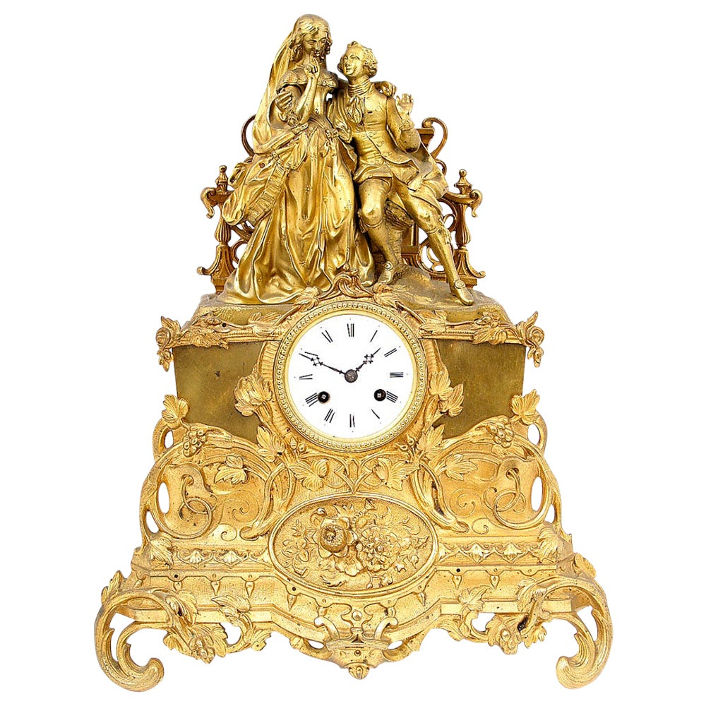 19th Century Gilded Bronze Mantle Clock with Japy Freres Movement