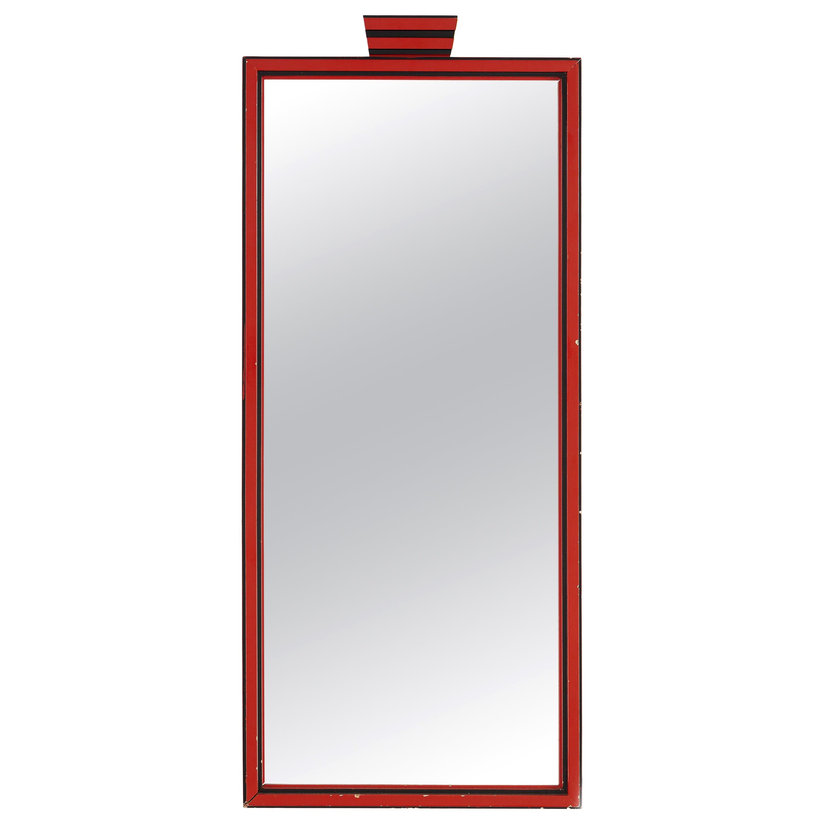 1920s Red and Black Art Deco Mirror