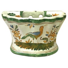 French Faience Vase Wall Pocket Moustiers Style, Circa 1900