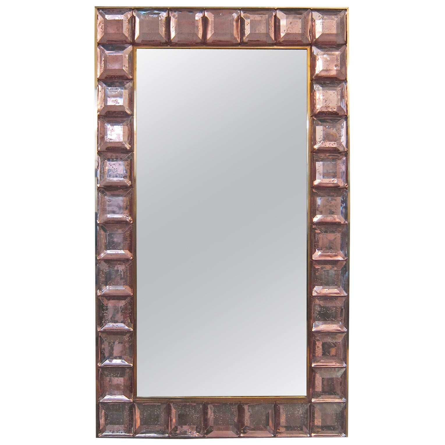 Contemporary Pink Diamond Murano Glass Mirror, In Stock