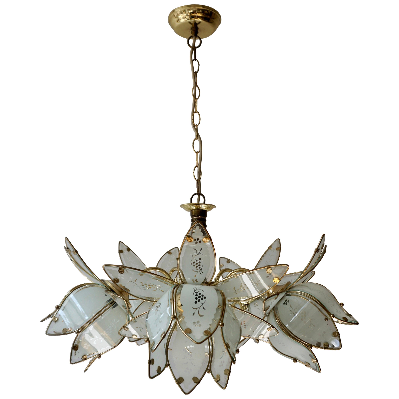Five Italian Brass Chandelier with White Murano Glass Flowers