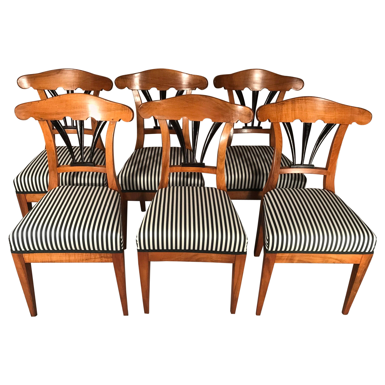 Set of Six Biedermeier Chairs, 1825, Walnut