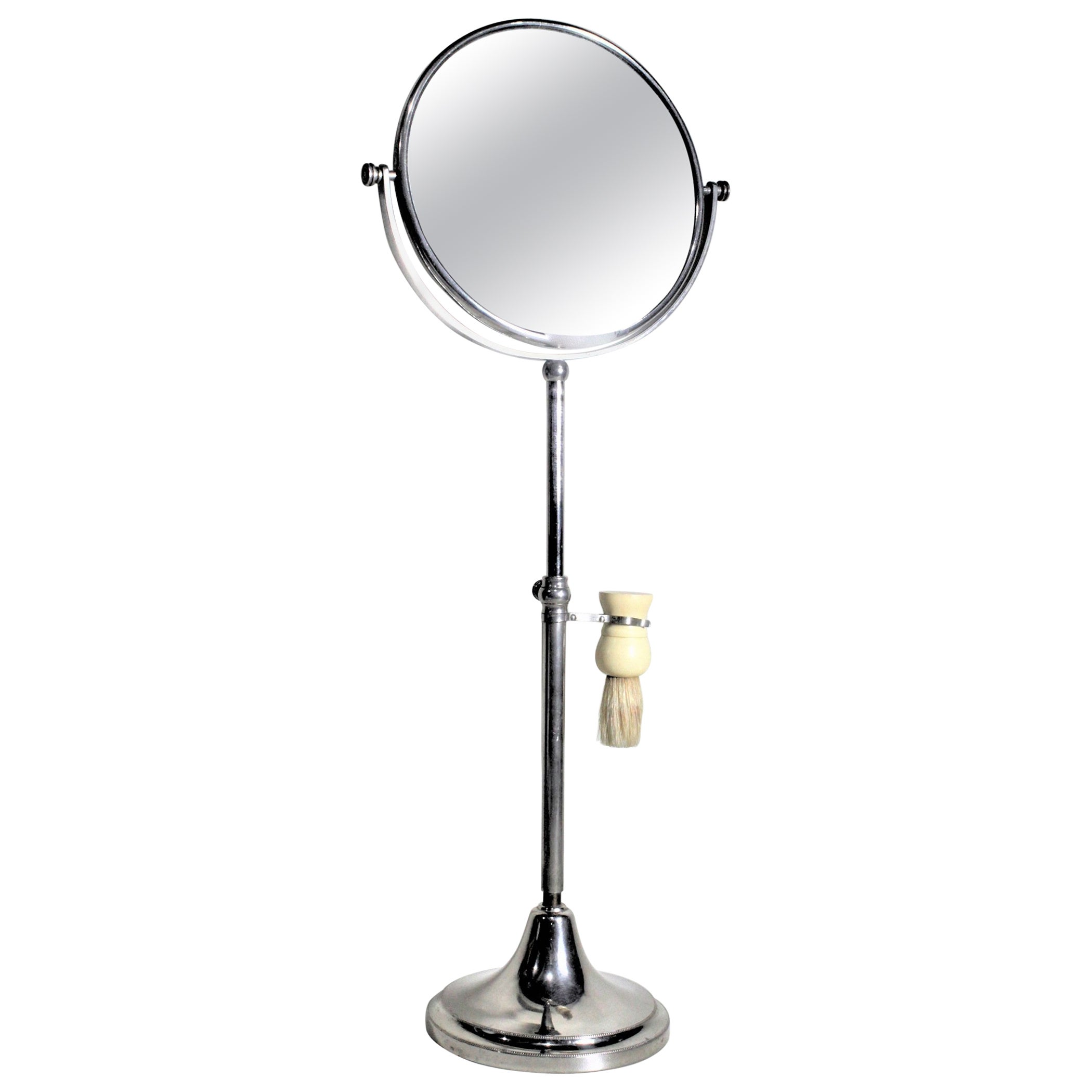 Art Deco Chrome Pedestal Men's or Ladies Shaving Mirror with Brush Holder