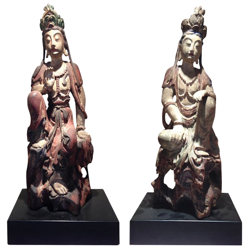 Pair of Chinese Wood Statues of Guanyin