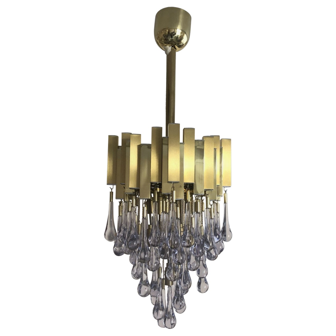 Midcentury Teardrop Golden Brass Long Chandelier by Gaetano Sciolari, 1970s
