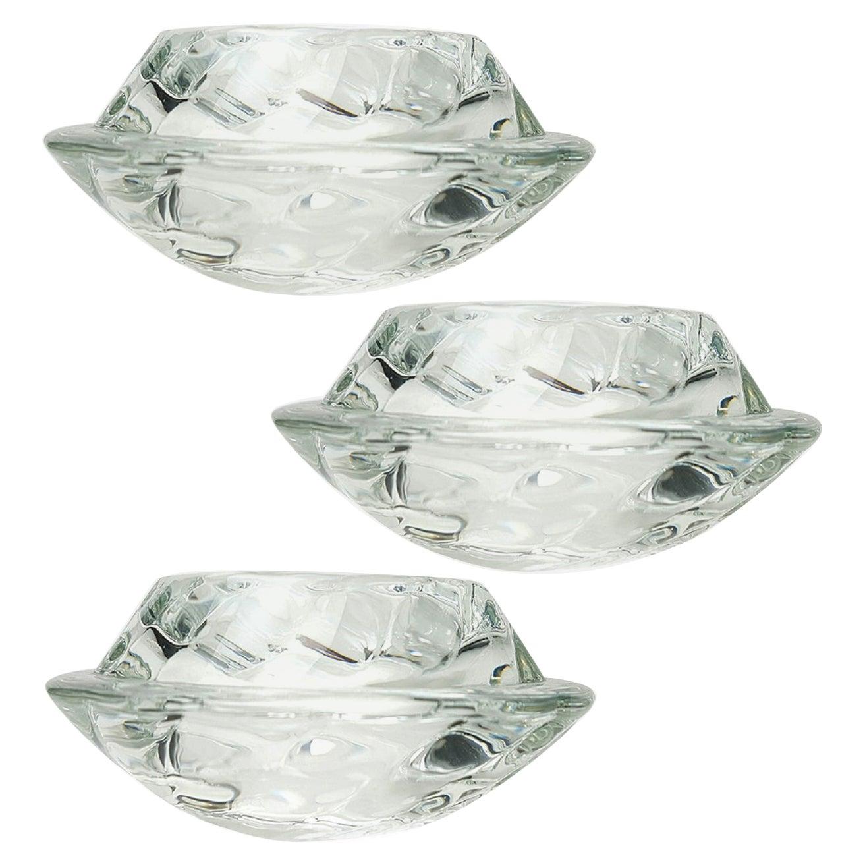 Set of Three Crystal Glass Votive Candleholders by Royal Copenhagen