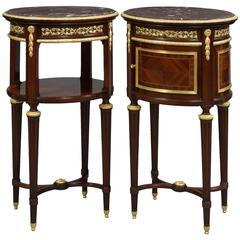 Pair of Mahogany Louis XVI Style Nightstands with Marble Tops by Fernand Kohl