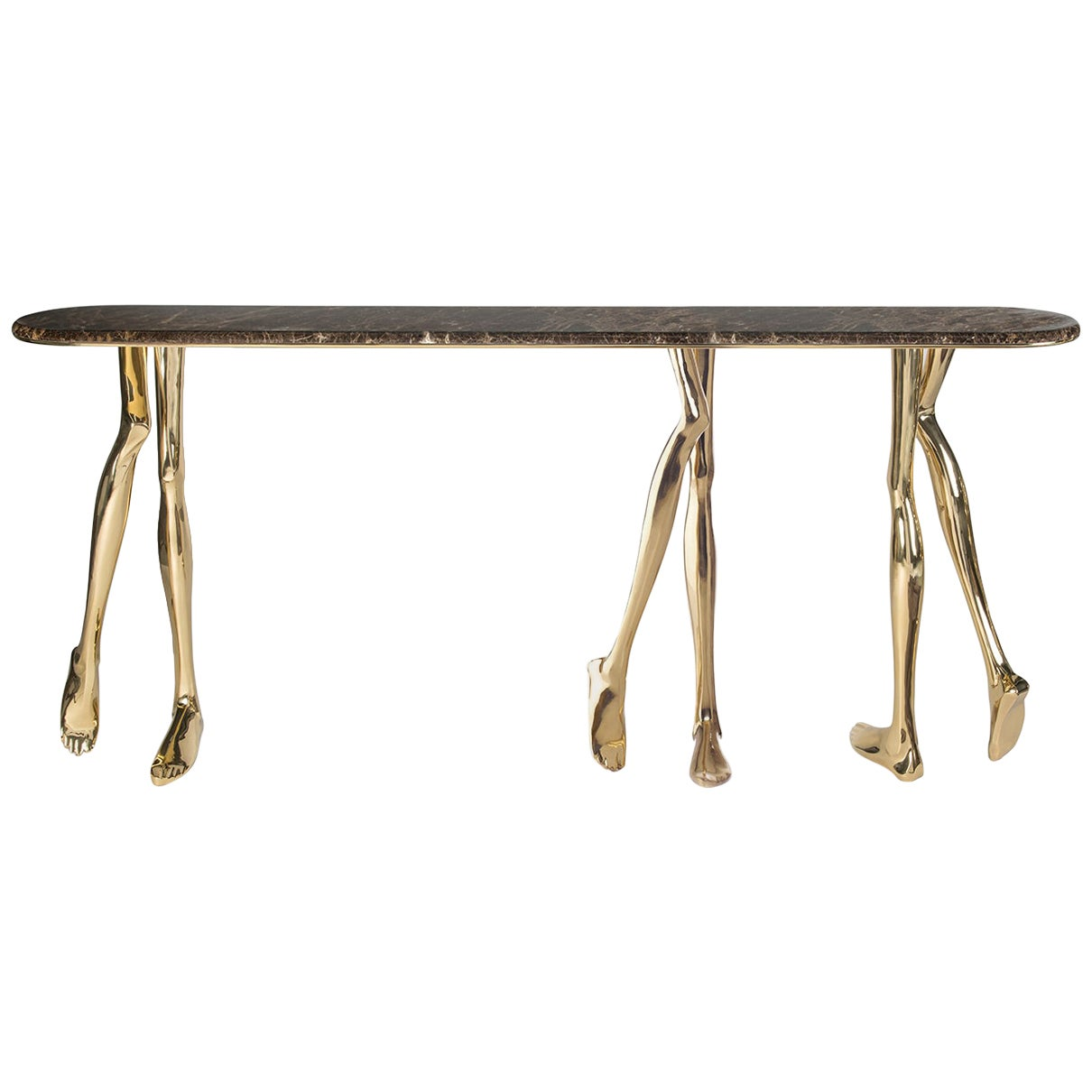 21st Century Sculptural Monroe Console Table, Polished Brass and Brown Marble