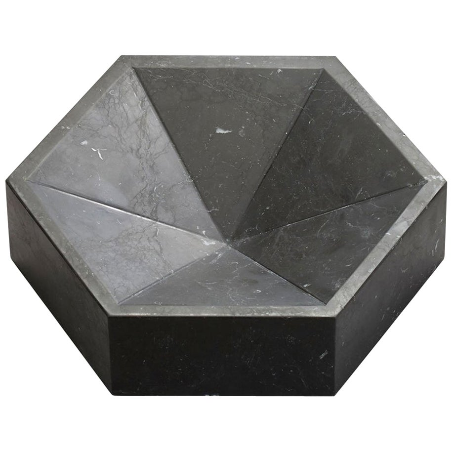 Constellation Marble Bowl, Small Low in Nero Marquina Marble, in Stock