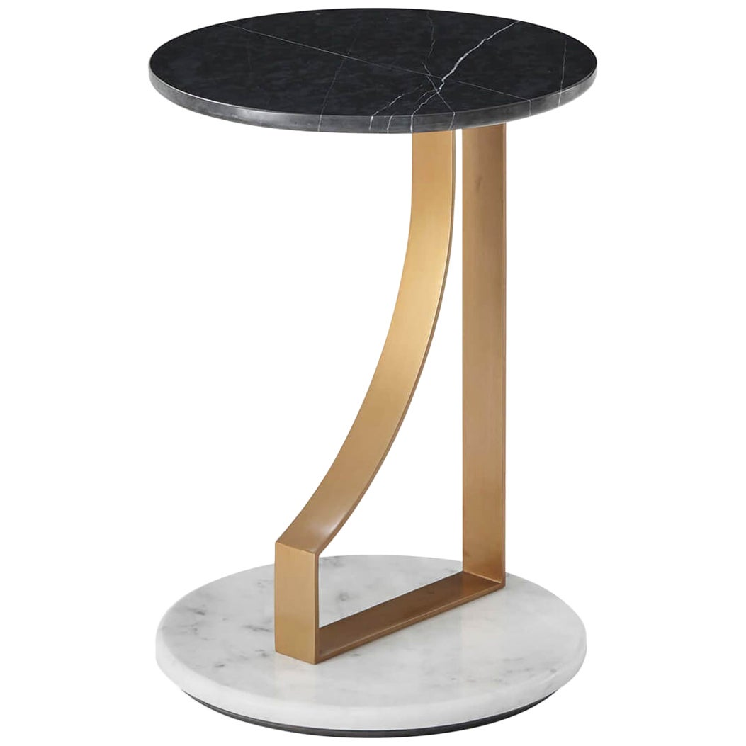 Modern Marble and Brass Side Table