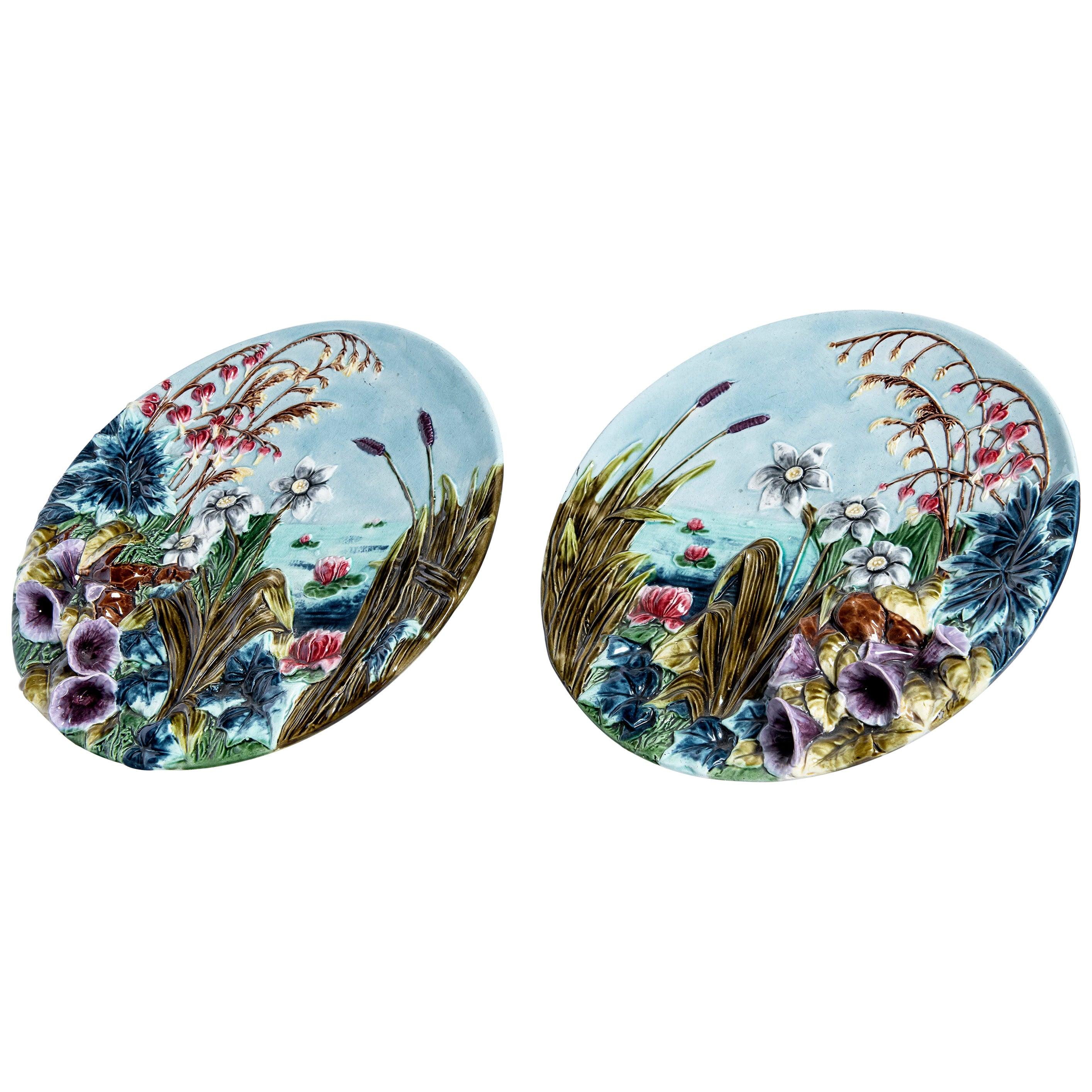 Pair of Barbotine Ceramic Dishes, Art Nouveau Period, France, circa 1890