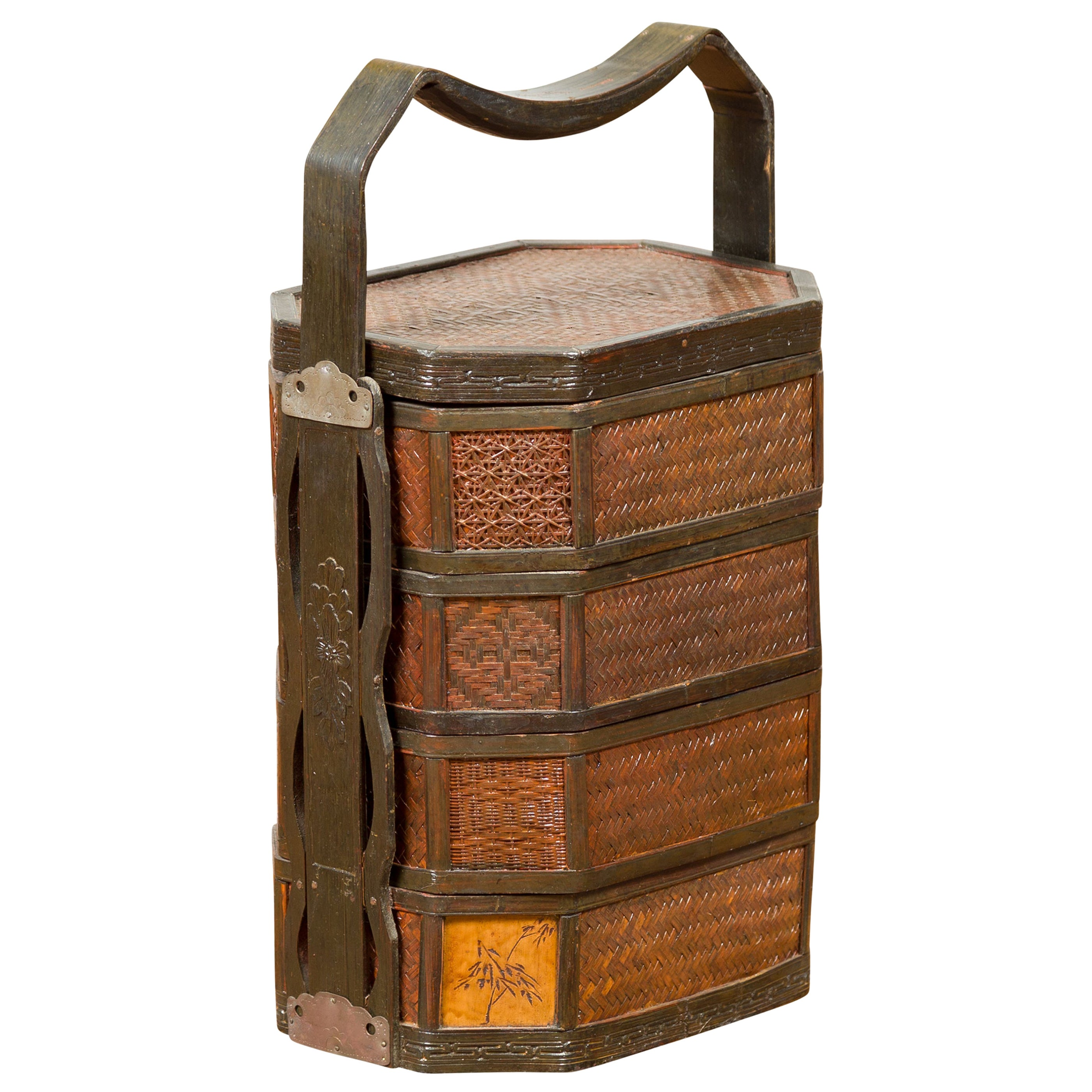 Chinese Antique Stacking Lunch Box with Lacquered Accents and Handle