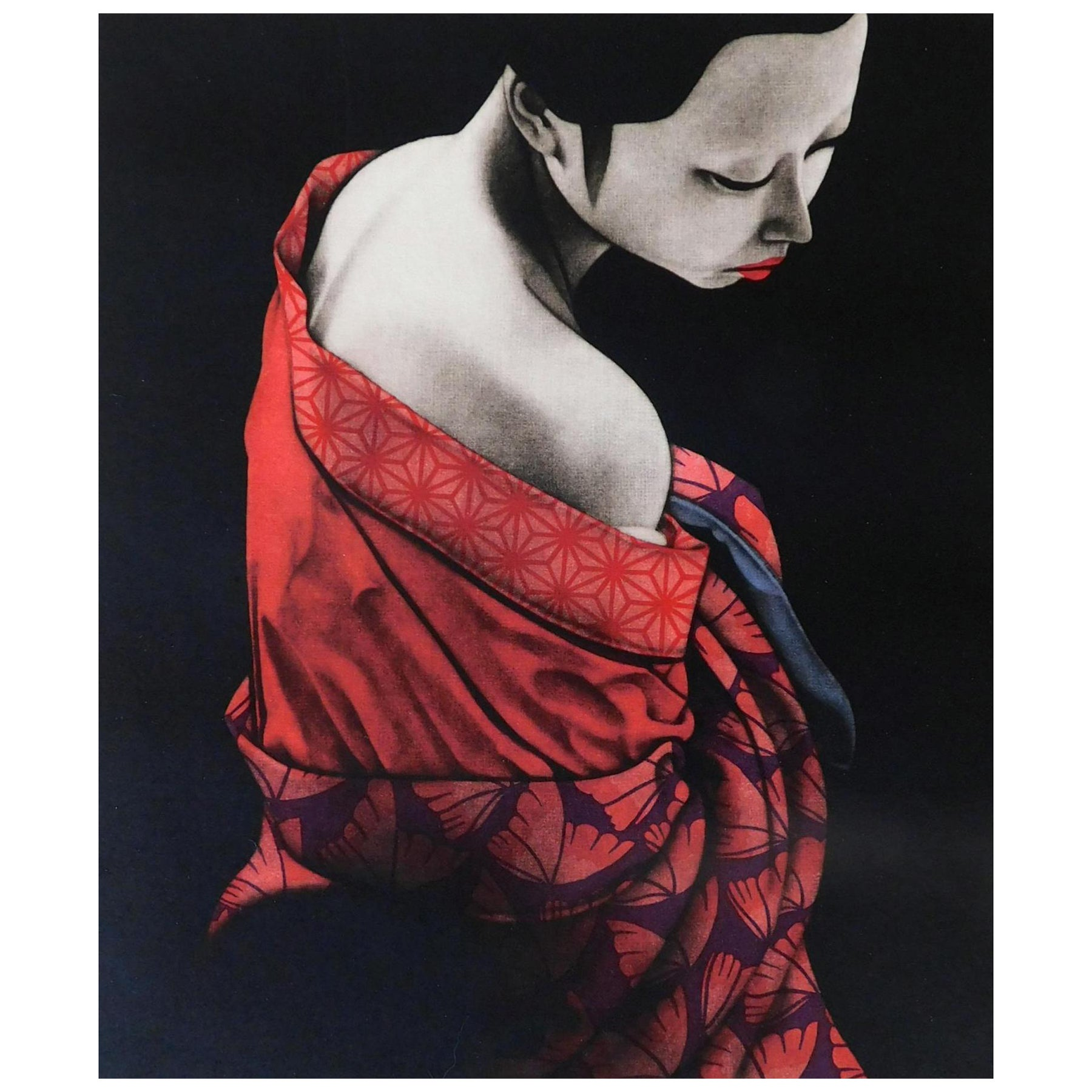 "Kaoru Saito Signed Limited Edition Japanese Mezzotint Print, 1984, ""Innocense"""