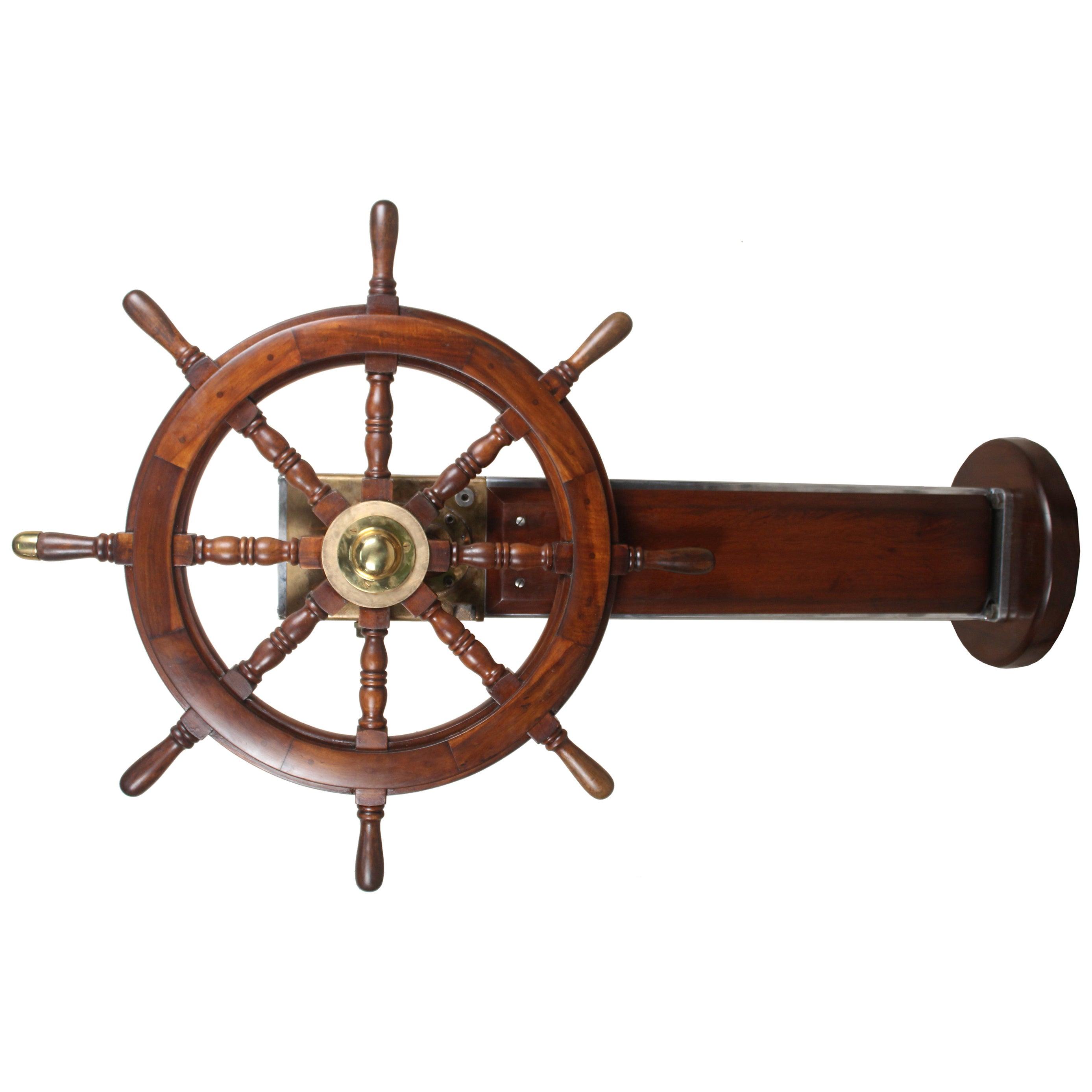 Brass, Chrome and Teak Steering Column and Wheel, Norwegian, Midcentury