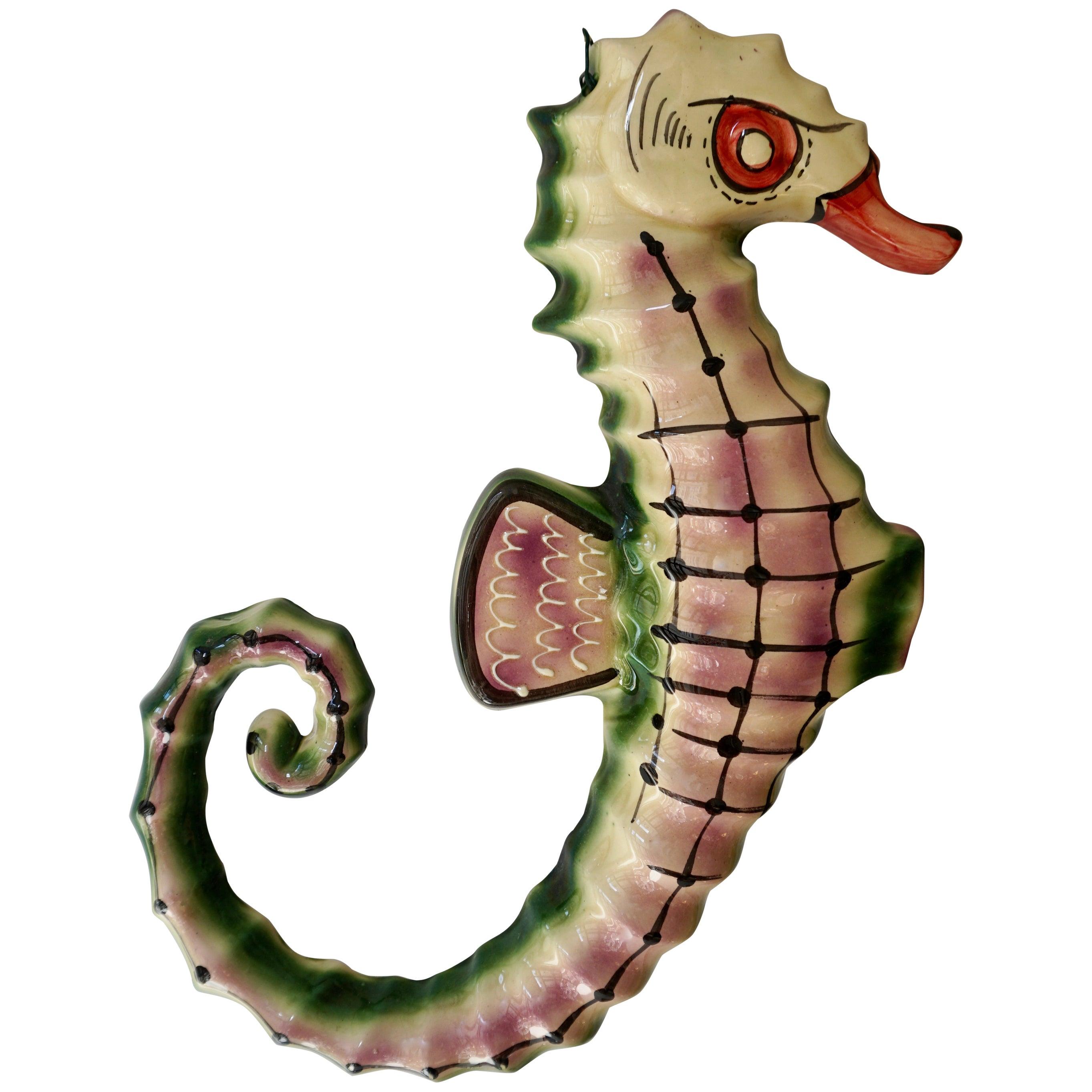 1970s Italian Multicolored Glazed Ceramic Sea Horse