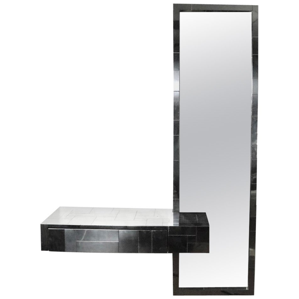 Bright Chrome Console Mirror by Paul Evans