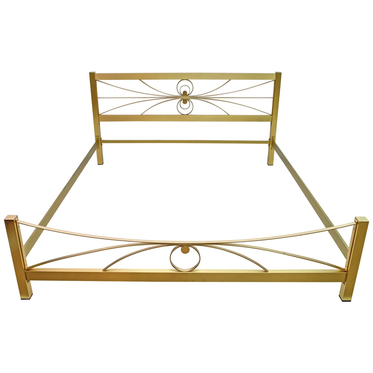 Luciano Frigerio Mid-Century Modern Gilded and Satin Brass Double Bed, 1970s