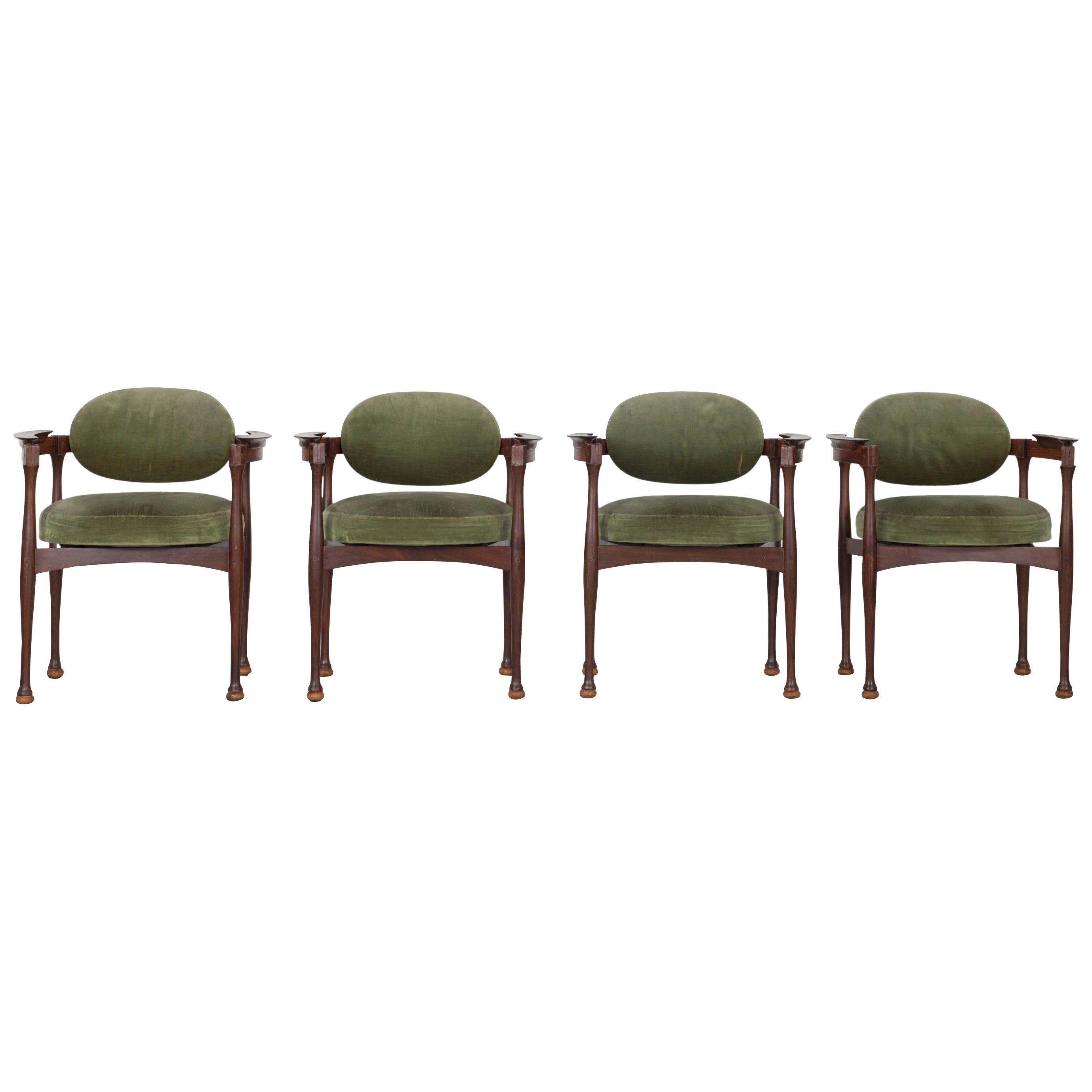 Set of 4 Italian 1960s Armchairs