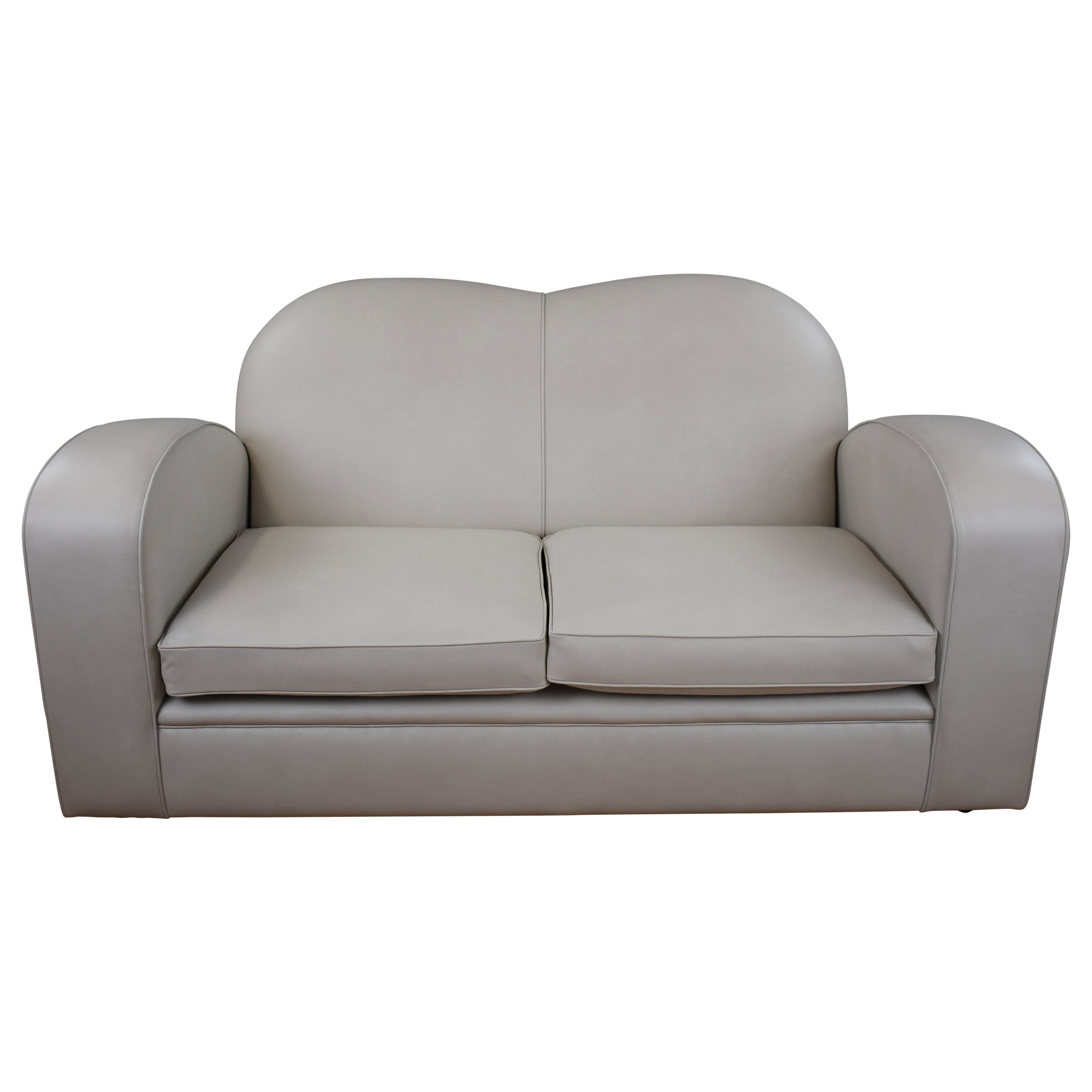 Art Deco Style Leather Two-Seat Sofa