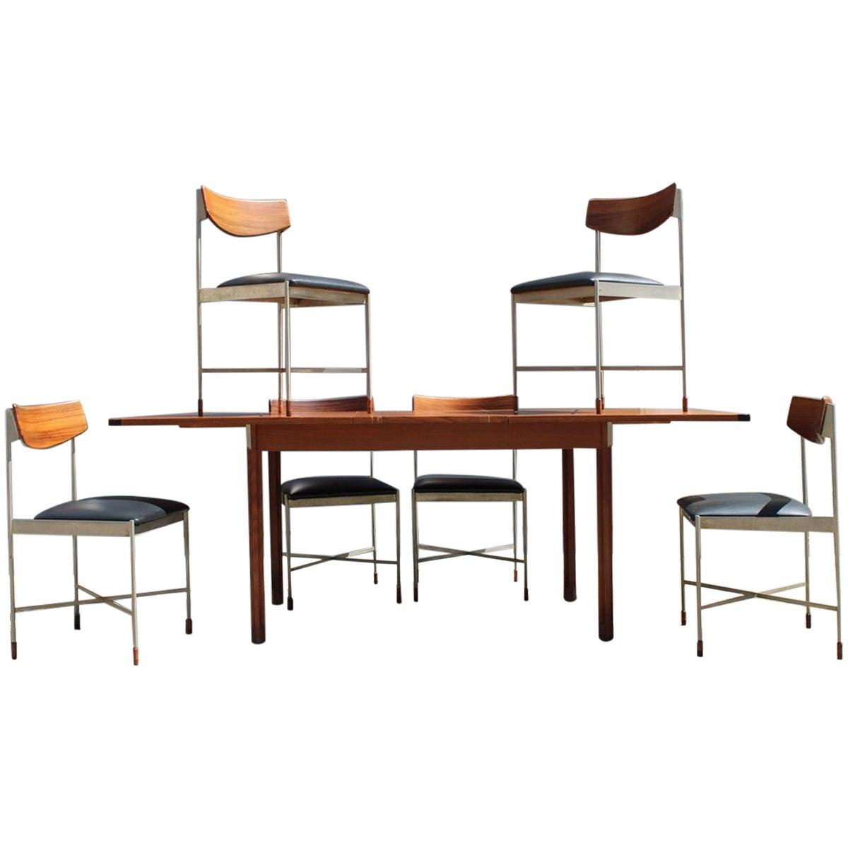 Italian Midcentury Dining Room Set Teak Metal Extendable Table, 1960s
