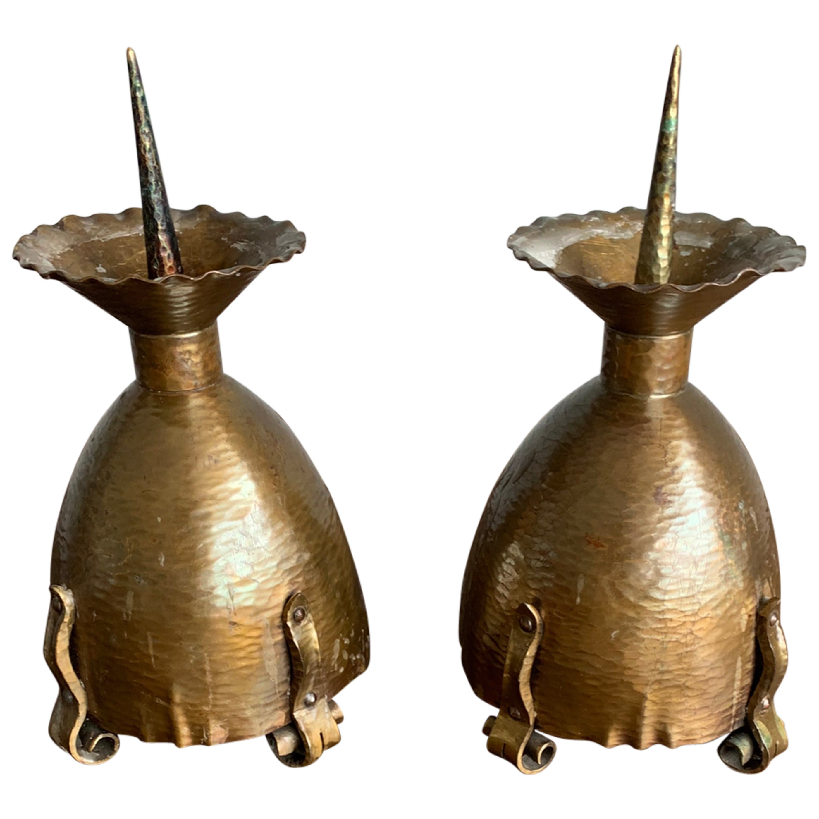 Superbly Handcrafted Pair of Arts and Crafts Brass Candlesticks / Holders, 1910s