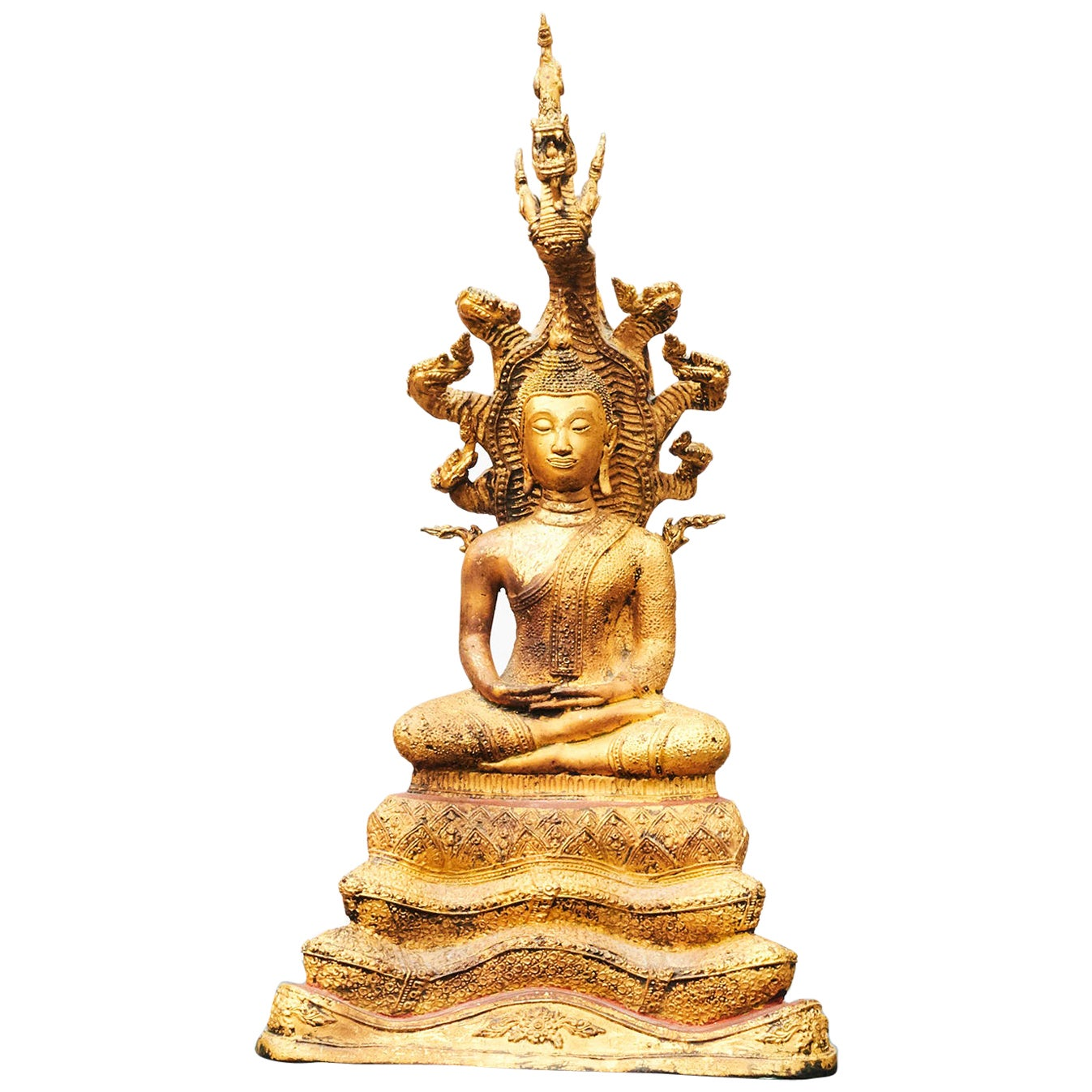 19th Century Gilded Bronze Buddha Seated on Naga Throne