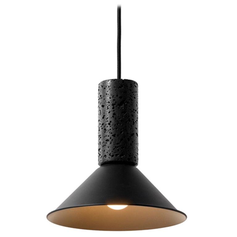 "Lava Stone and Aluminum Pendant Light, ""R,"" S, by Buzao"