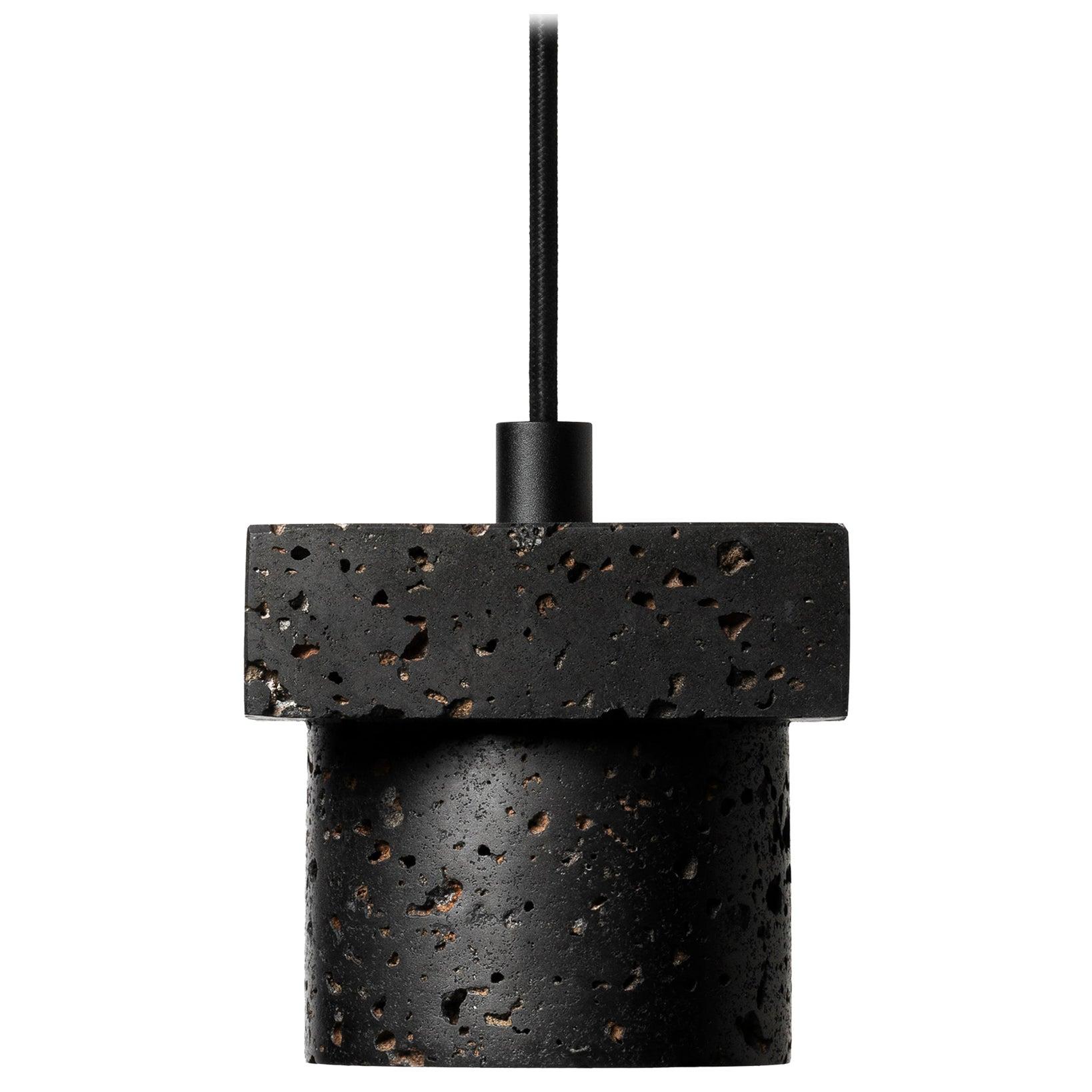 "Lava Stone and Aluminum Pendant Light, ""T1,"" by Buzao"