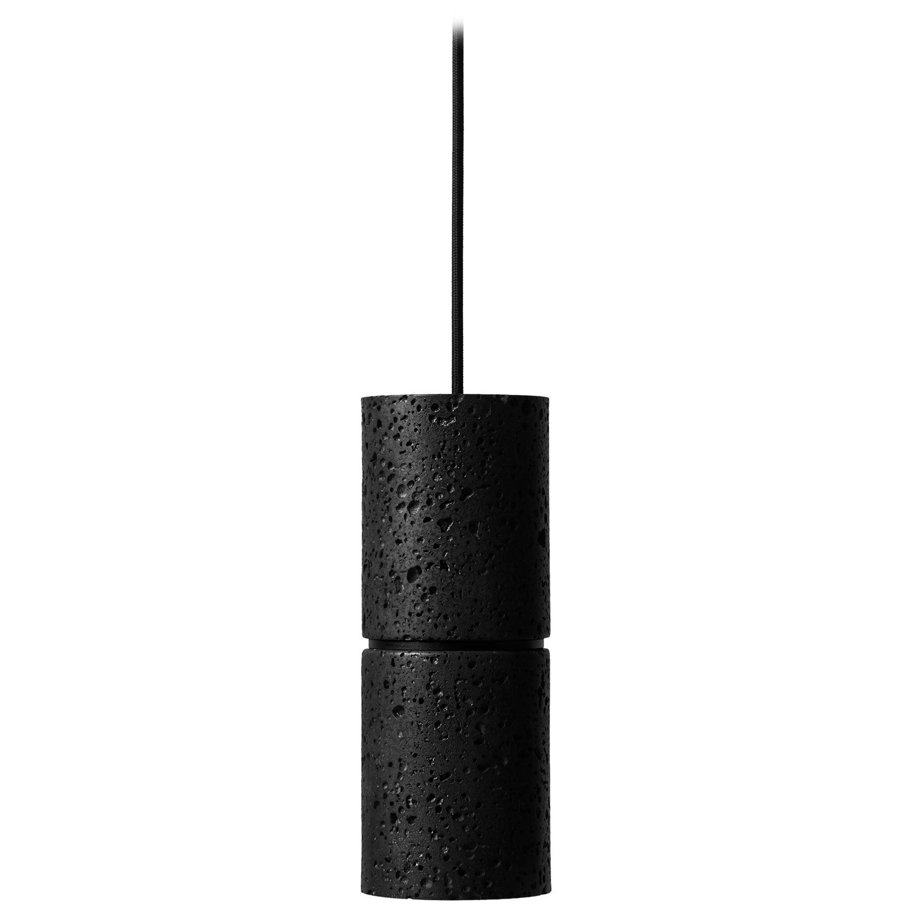 "Lava Stone and Aluminum Pendant Light, ""Ri,"" by Buzao"