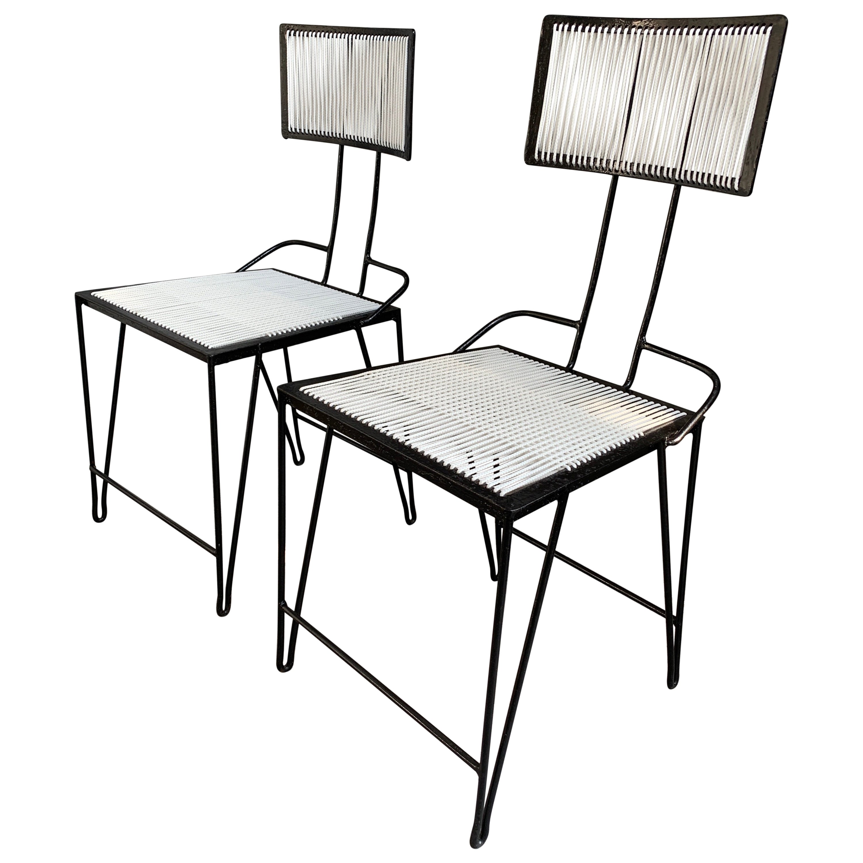 Mid-Century Modern Iron and Nylon Cord Chair