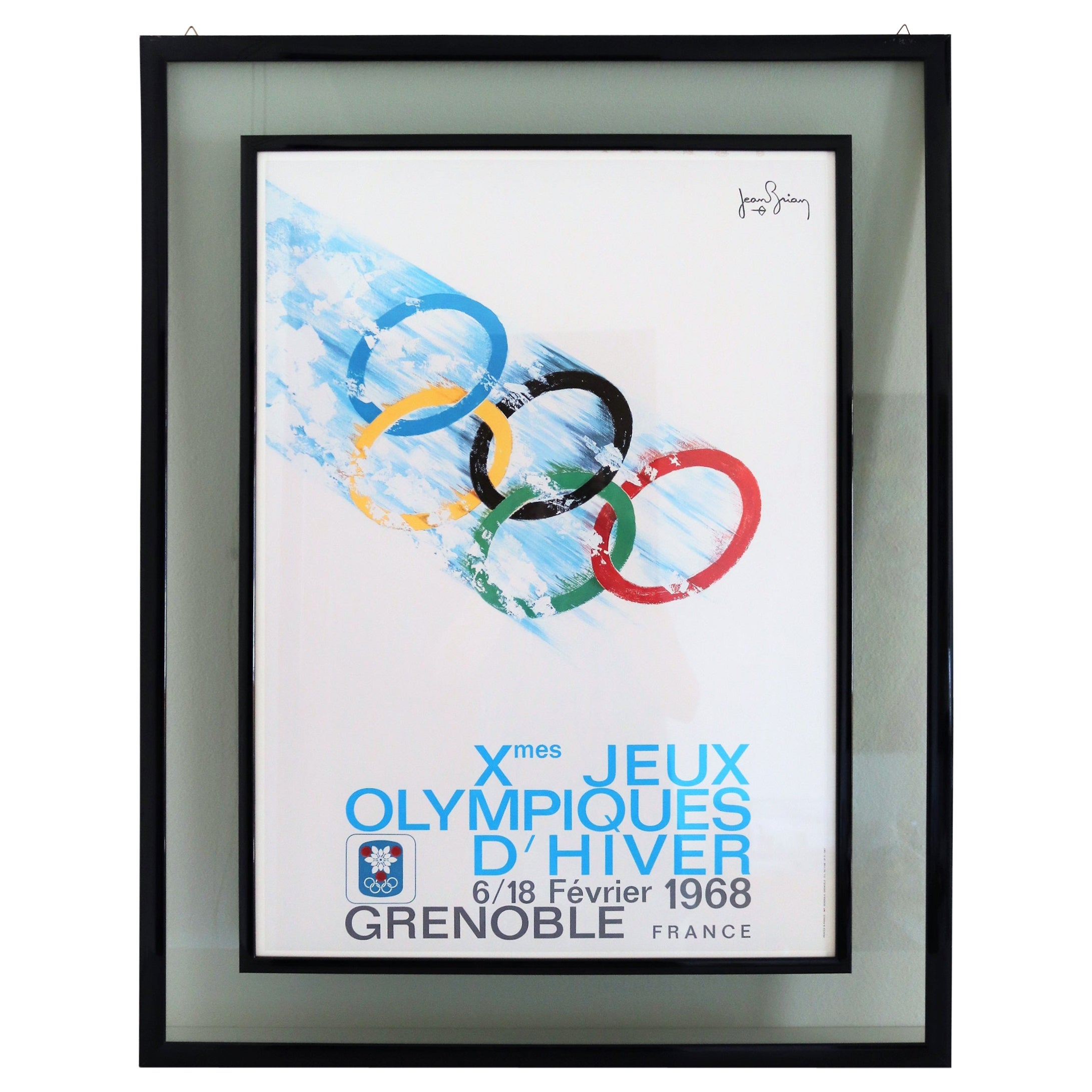 Vintage Poster Olympic Games Grenoble, France, 1968 by Jean Brian, Double Framed