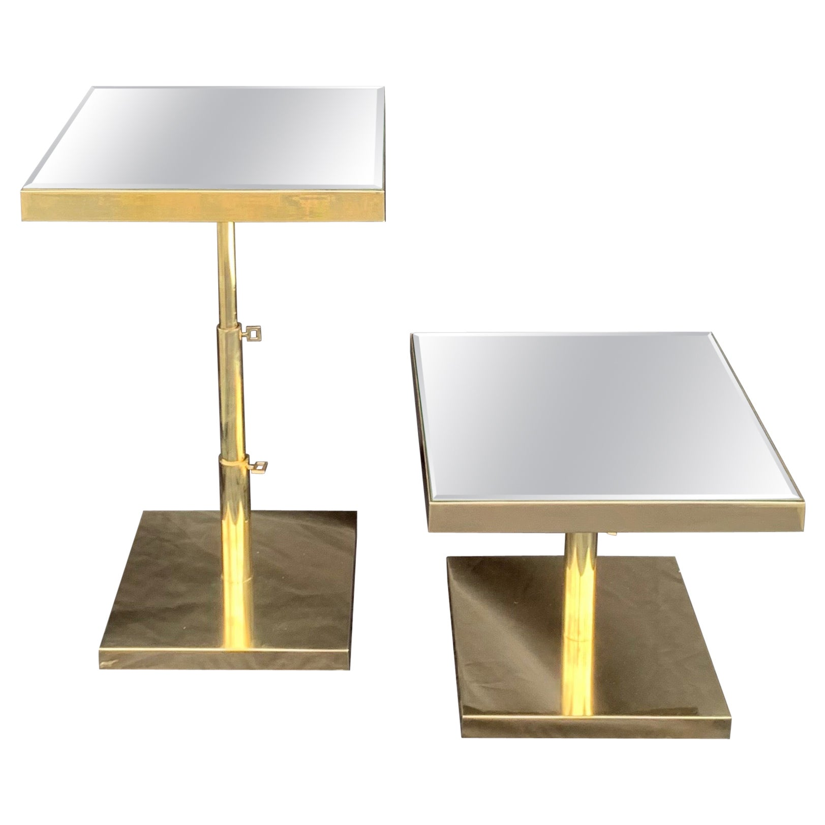 Fine Mid-Century Modern Pair Bronze Beveled Mirror Telescoping Square Side Table