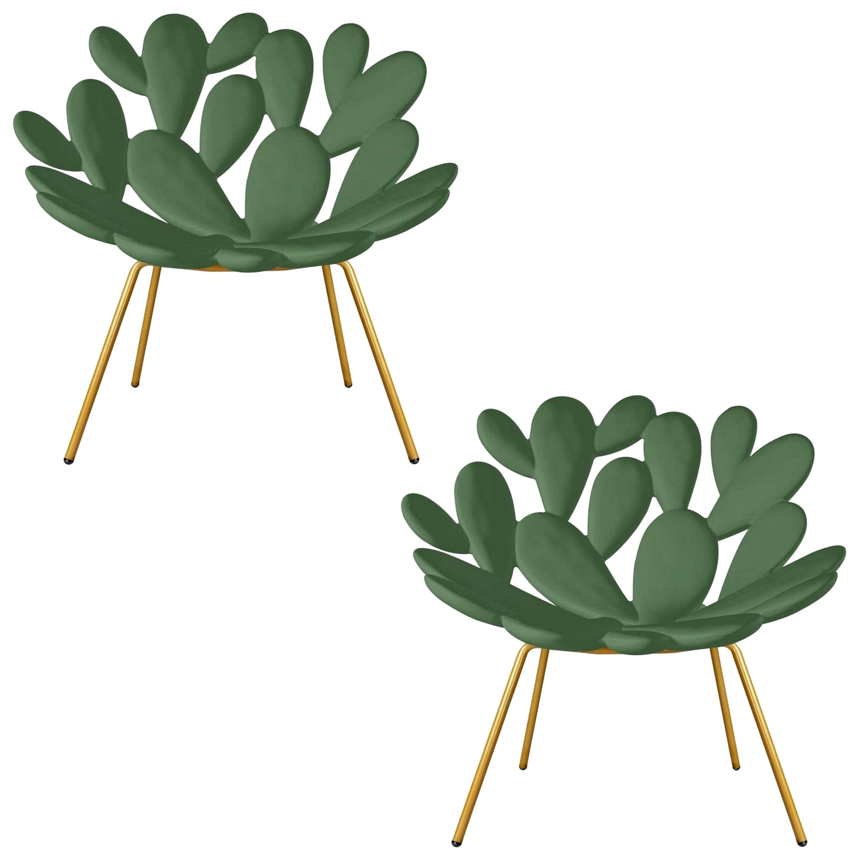 Set of 2 Green & Brass Outdoor Cactus Chairs, Designed by Marcantonio